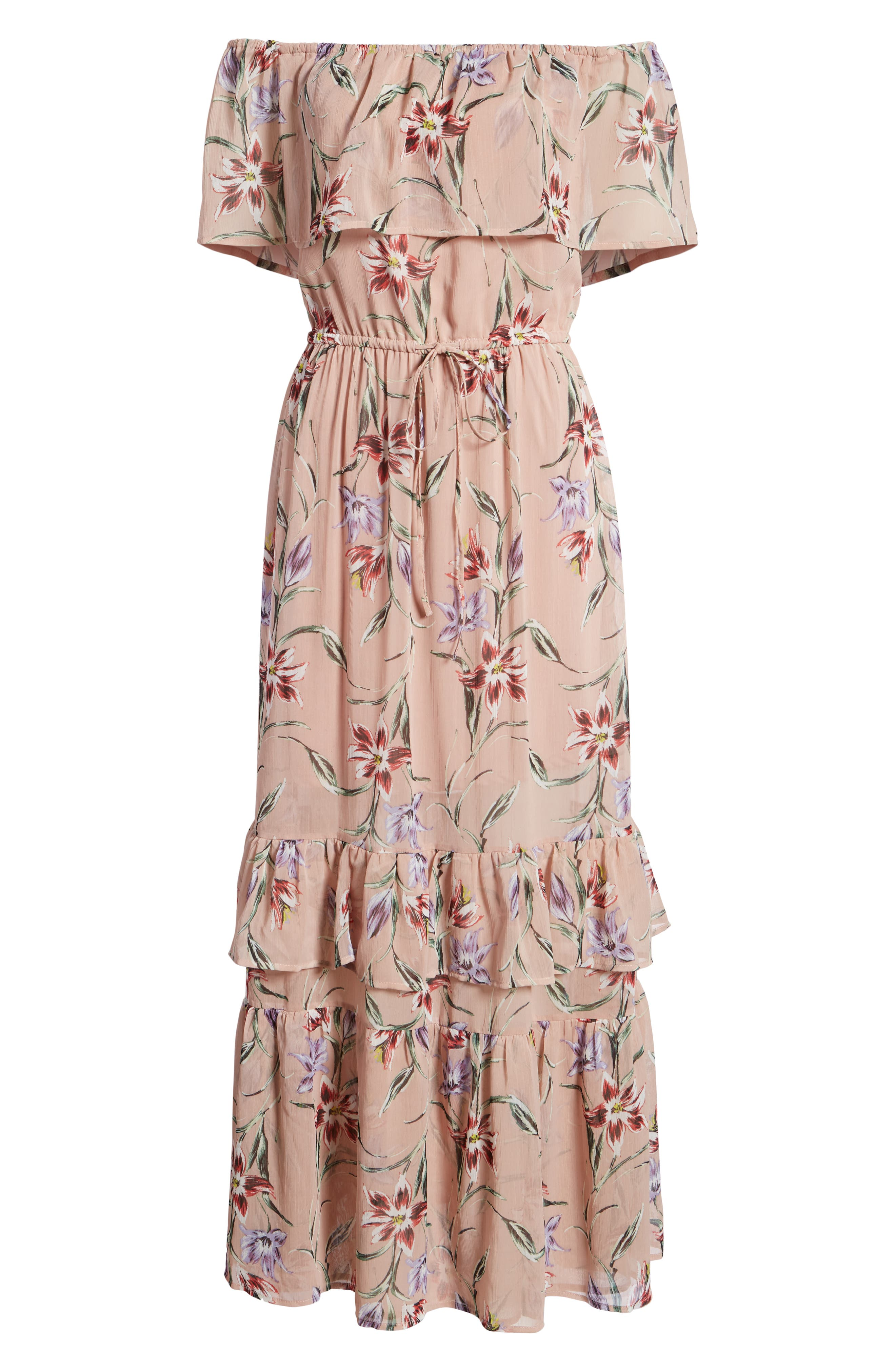 Off the Shoulder Maxi Dress,                             Alternate thumbnail 7, color,                             Nude Floral