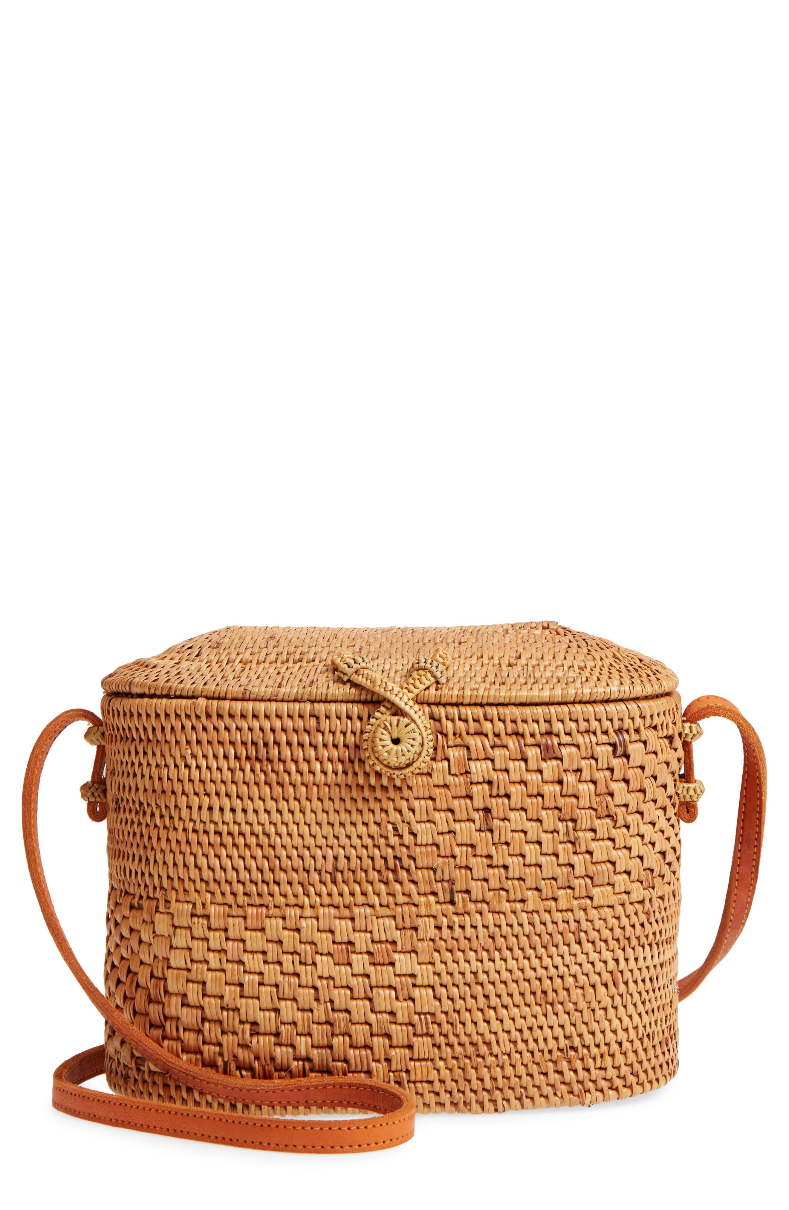Woven Rattan Box Crossbody Bag,                             Main thumbnail 1, color,                             Tan