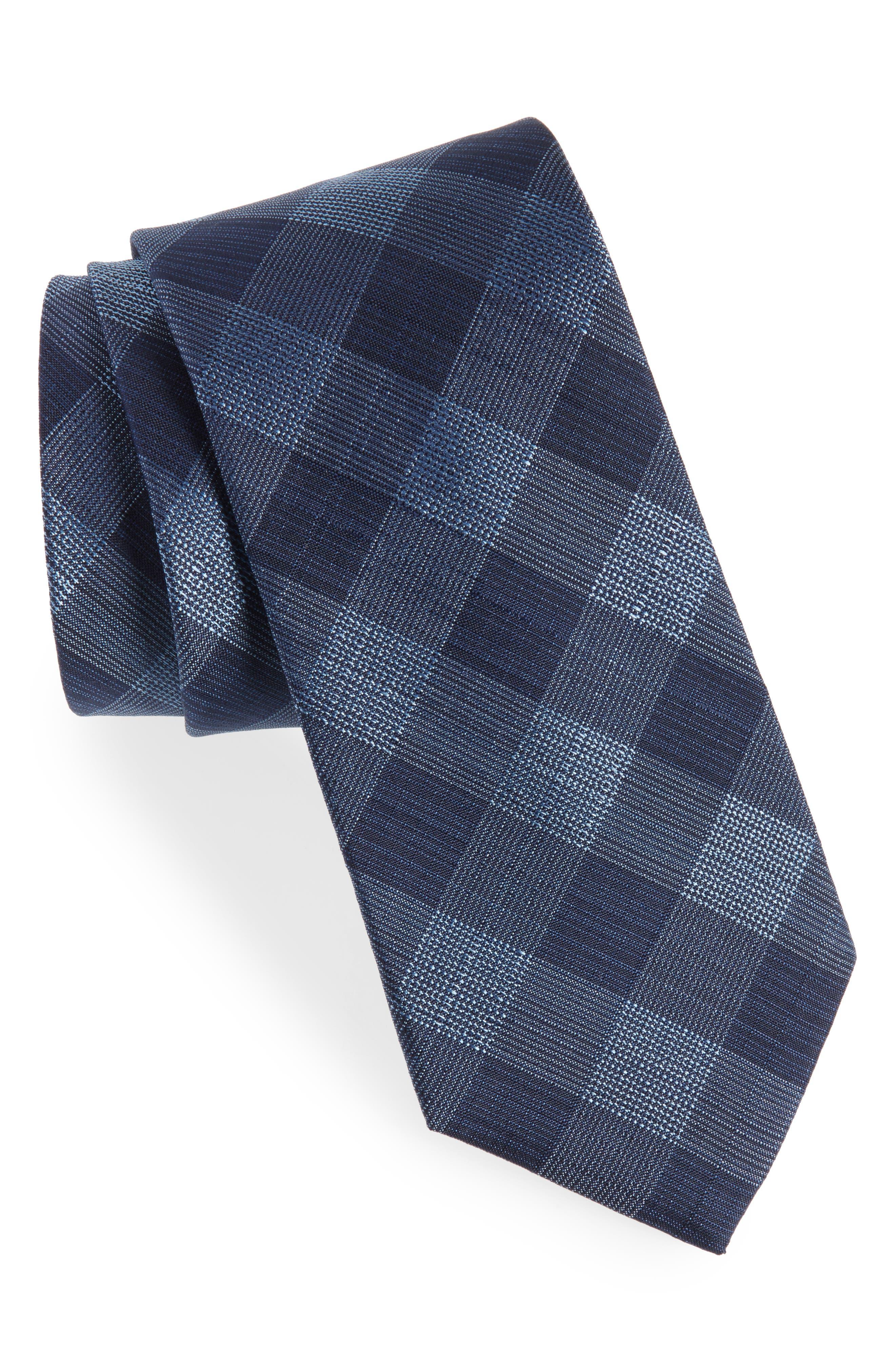 Raymer Check Silk Tie,                         Main,                         color, Navy