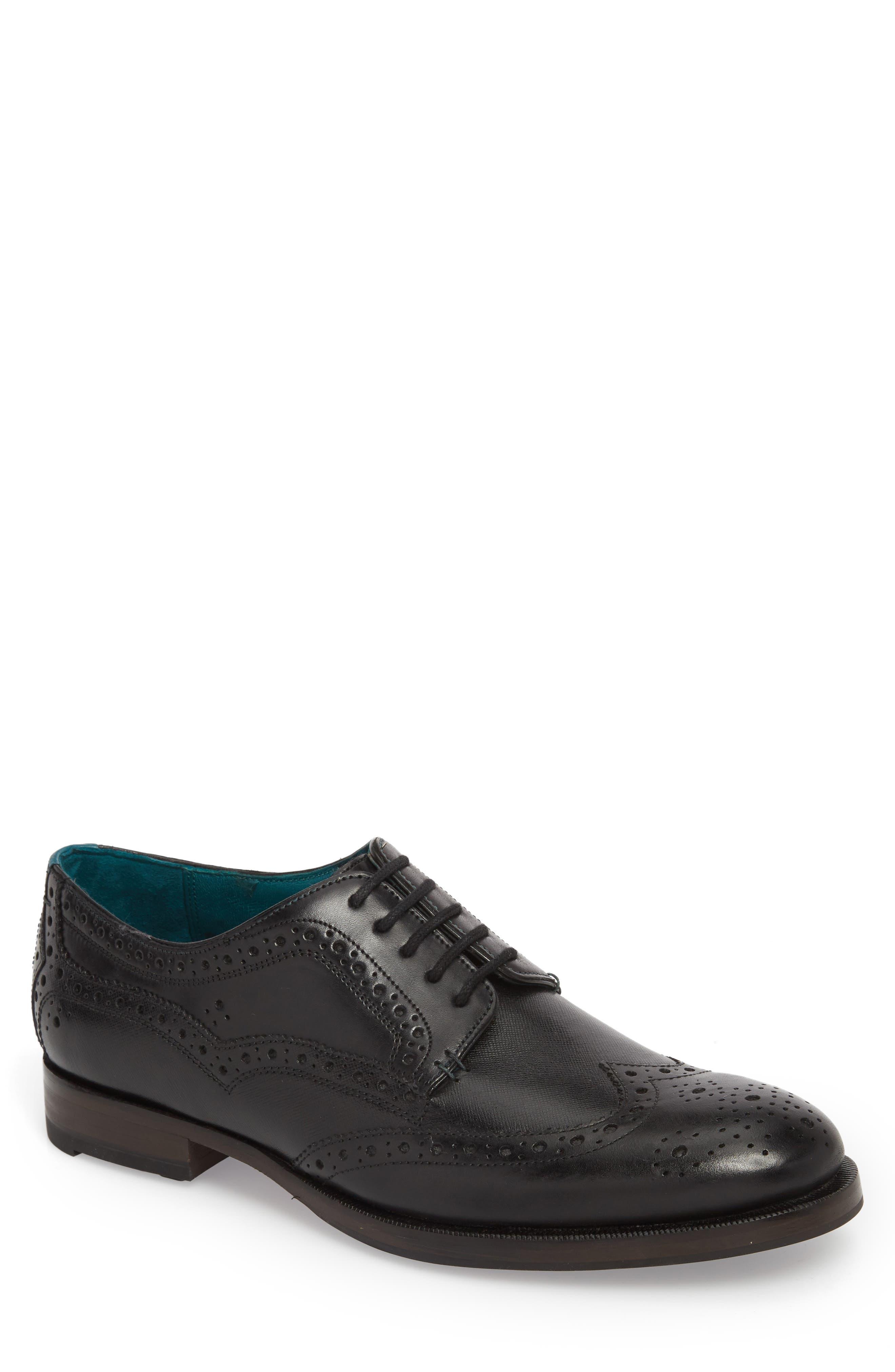 Senape Wingtip,                             Main thumbnail 1, color,                             Black Leather