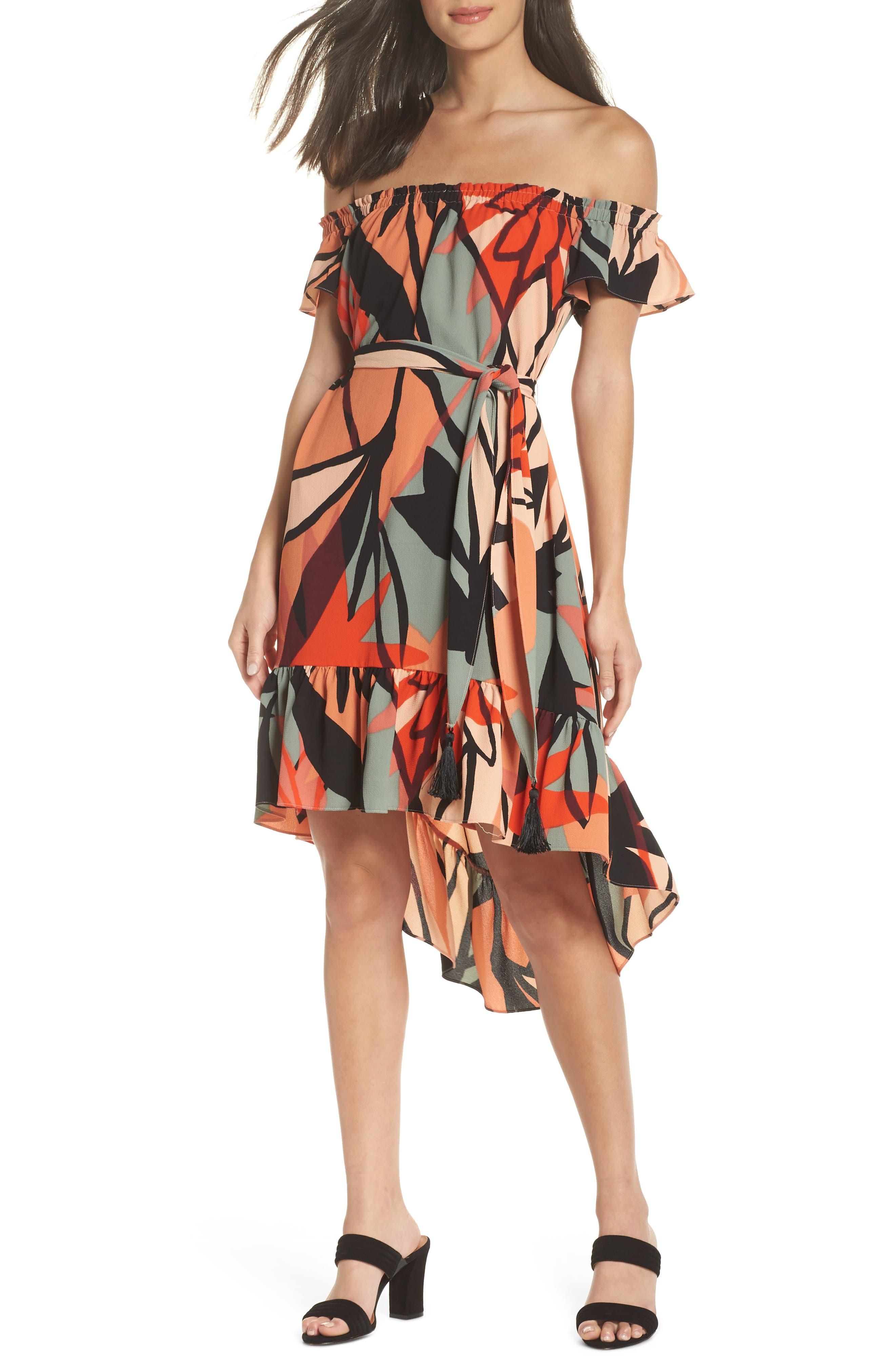 Off the Shoulder Bubble Crepe Dress,                         Main,                         color, Peach / Black