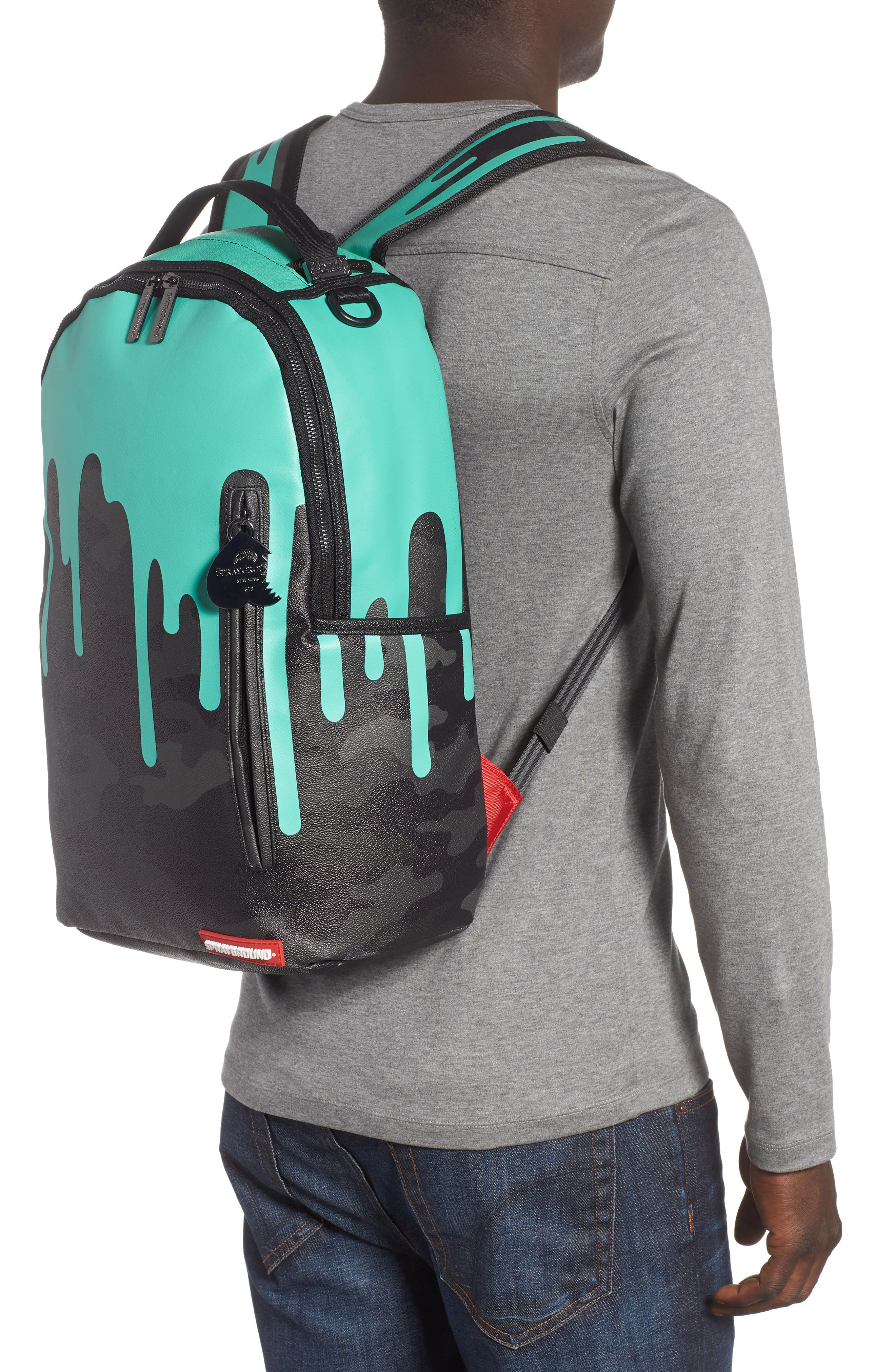 Tiff Drips Print Backpack,                             Alternate thumbnail 2, color,                             Camo/ Teal