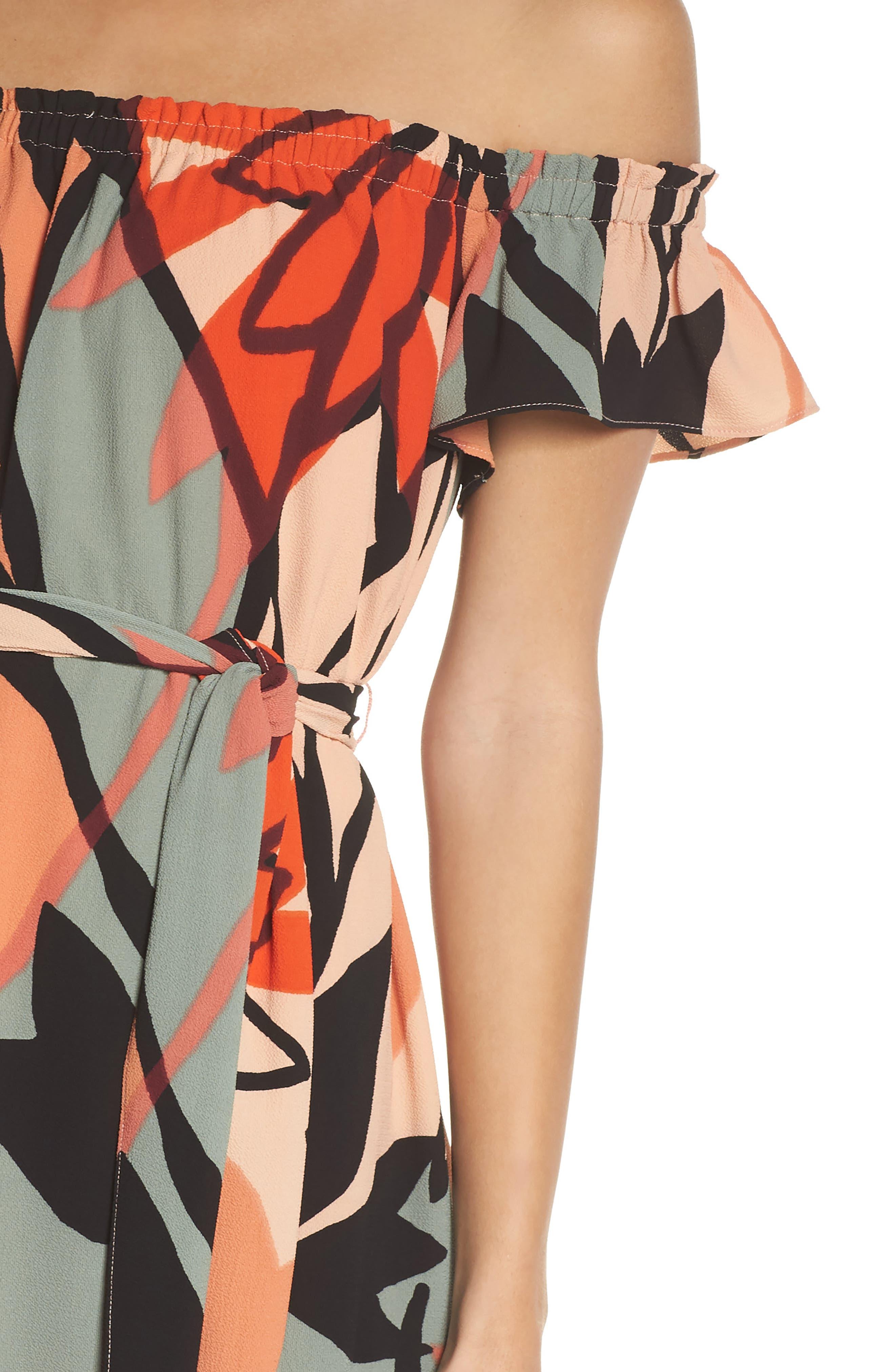 Off the Shoulder Bubble Crepe Dress,                             Alternate thumbnail 4, color,                             Peach / Black
