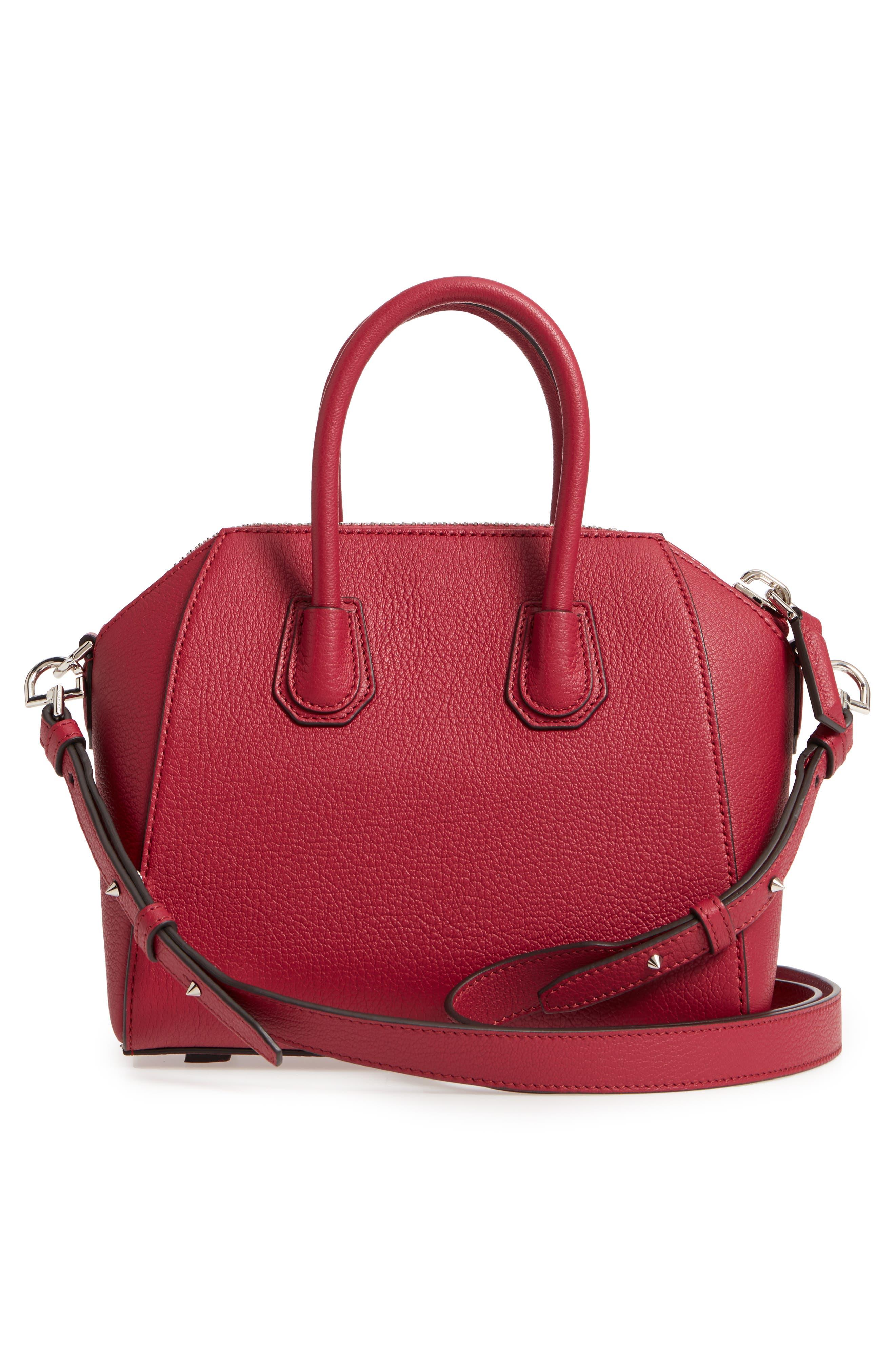 'Mini Antigona' Sugar Leather Satchel,                             Alternate thumbnail 4, color,                             Fig Pink