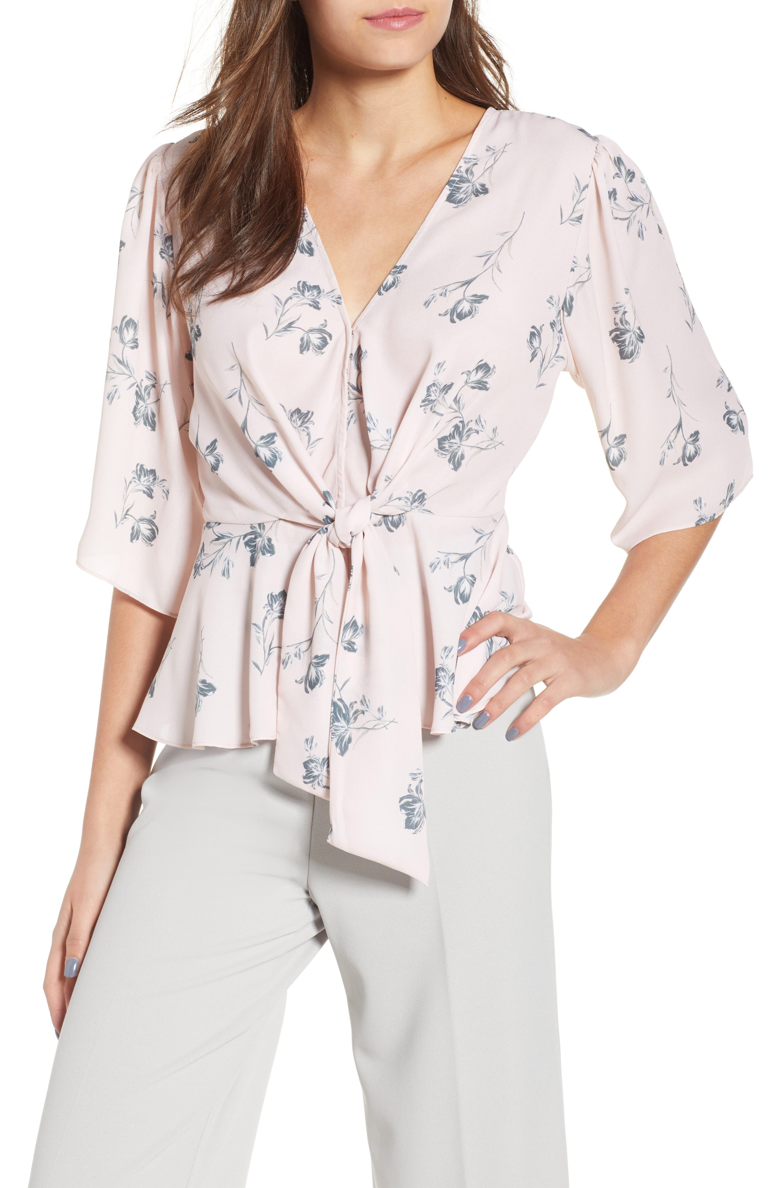 Plunging Knot Front Top,                             Main thumbnail 1, color,                             Rose Cloud Floral