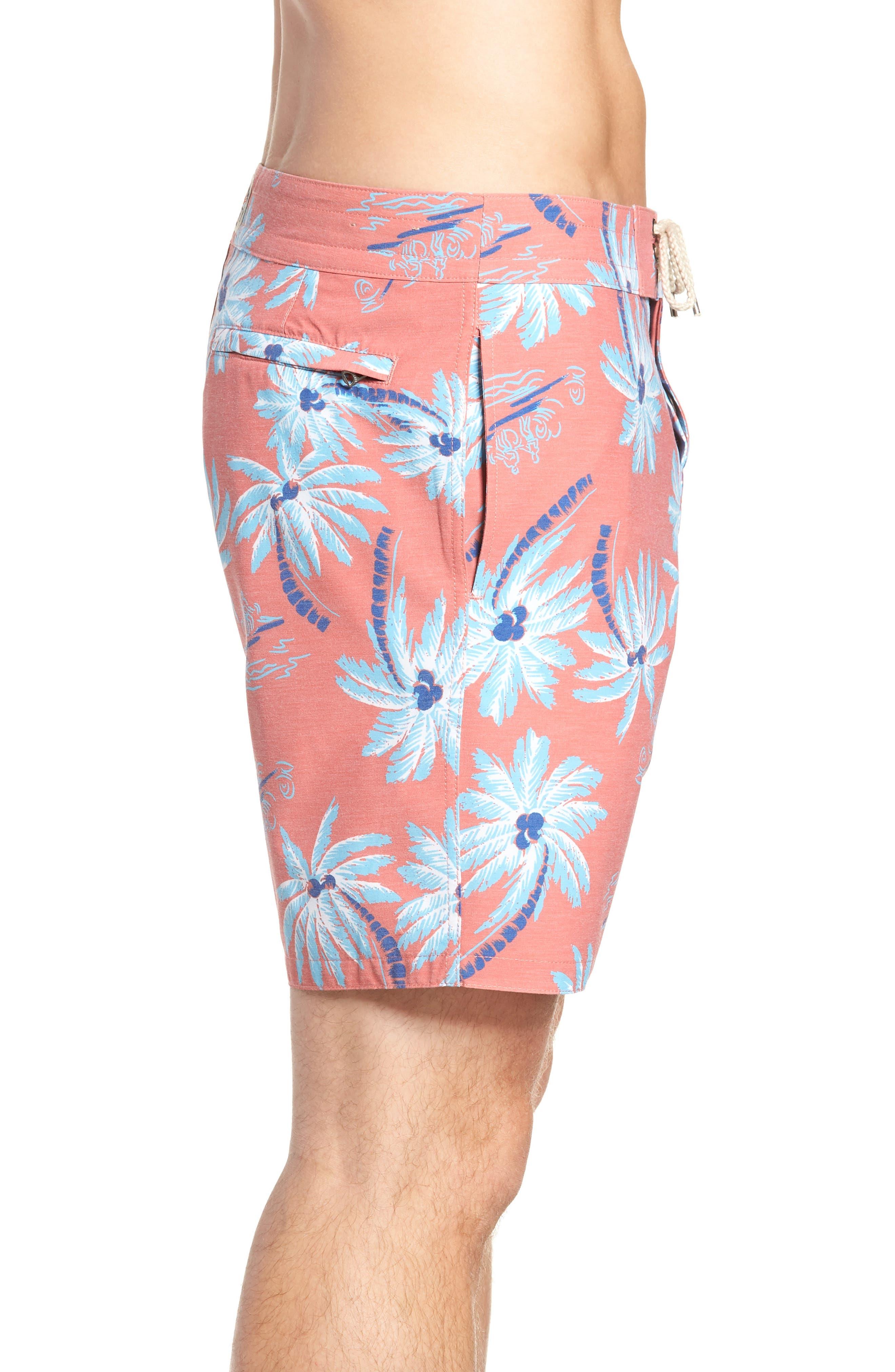 Classic Board Shorts,                             Alternate thumbnail 3, color,                             Red Palm Hawaiian