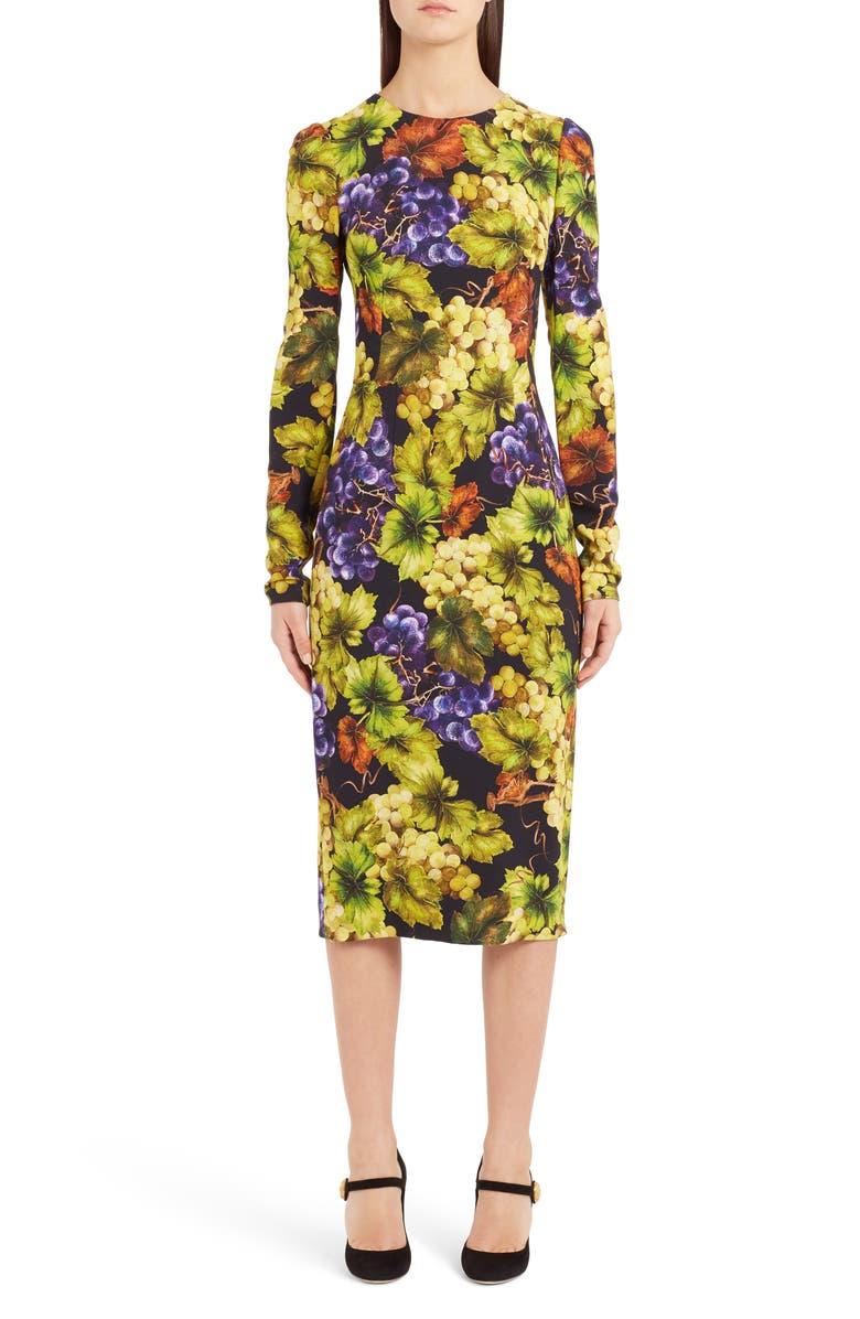 Grape Print Cady Body-Con Dress