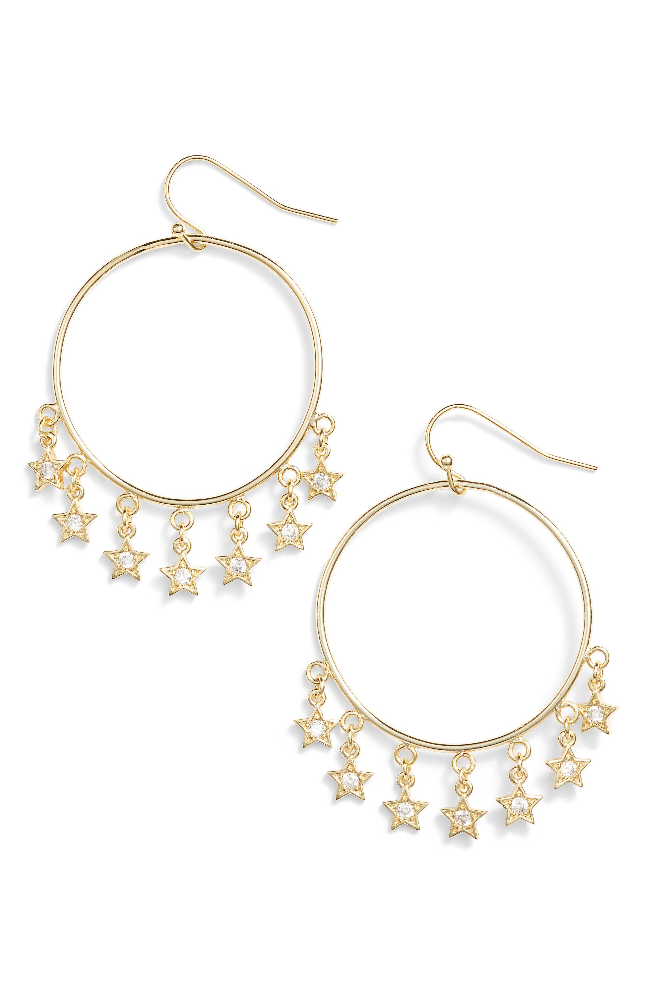 Star Shooter Hoop Earrings,                         Main,                         color, Cz/ Gold