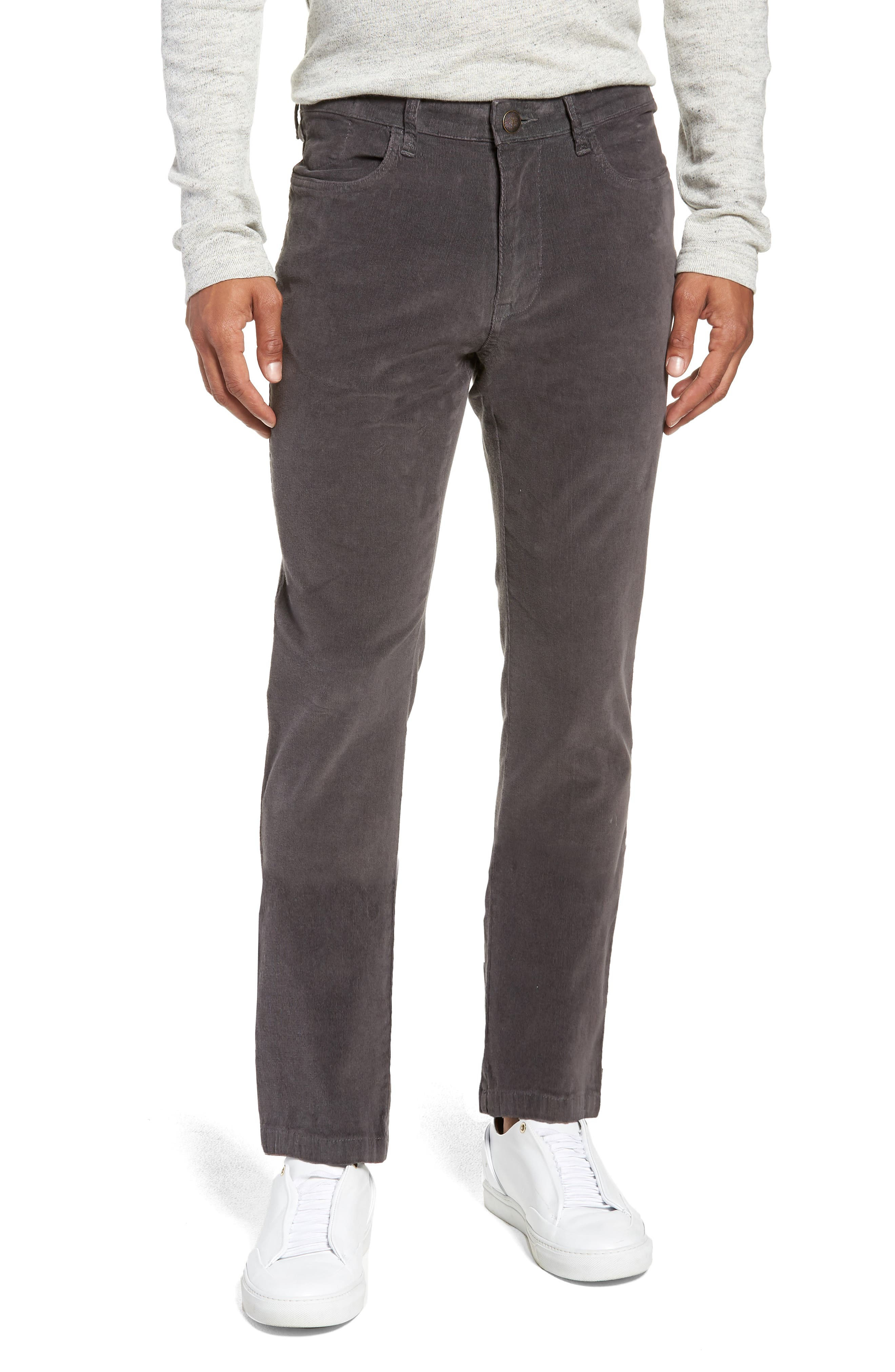 VINTAGE 1946 Modern Fit Stretch Corduroy Pants in Charcoal