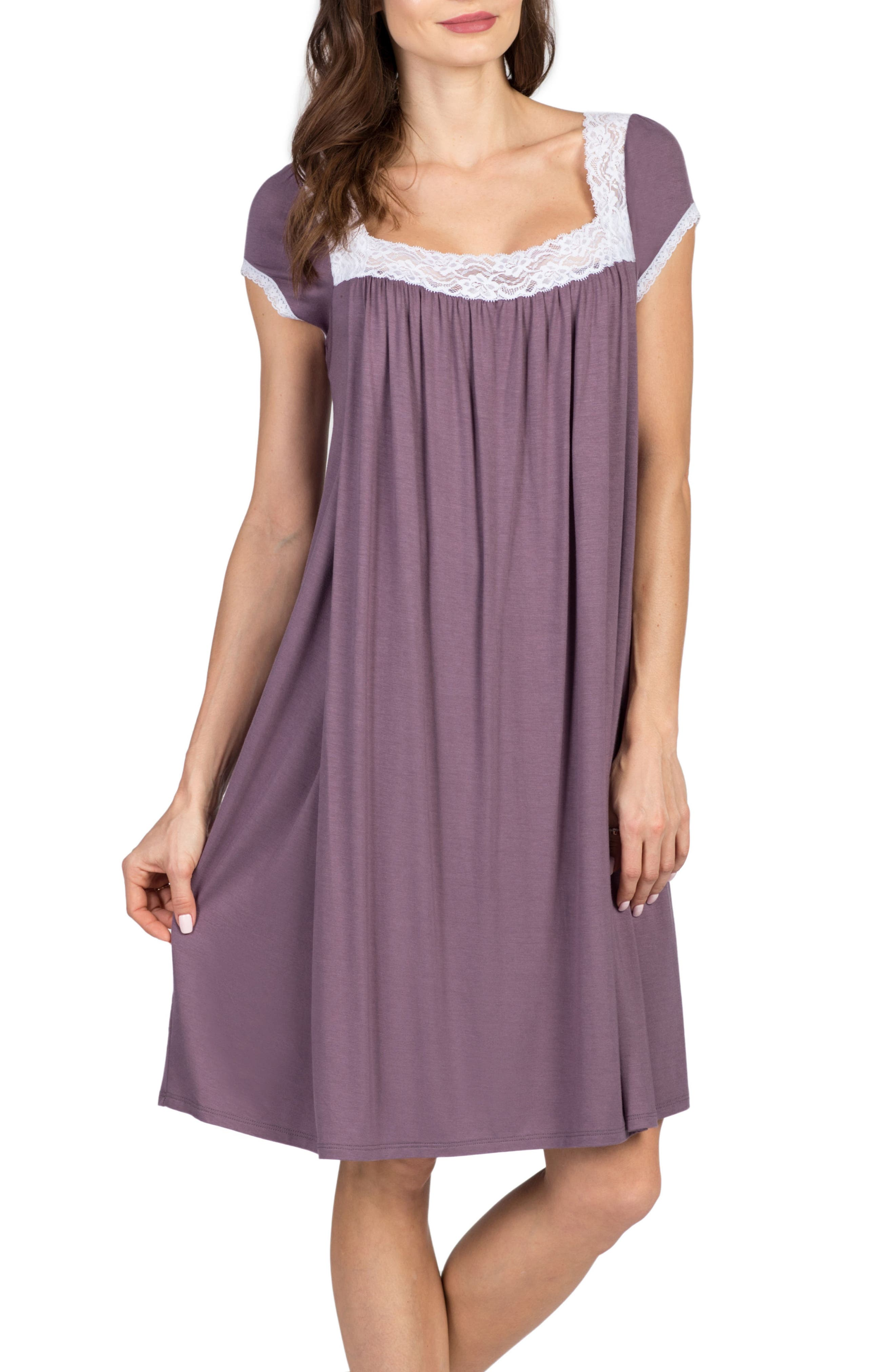 Joliet Maternity/Nursing Nightgown,                             Alternate thumbnail 3, color,                             Lilac