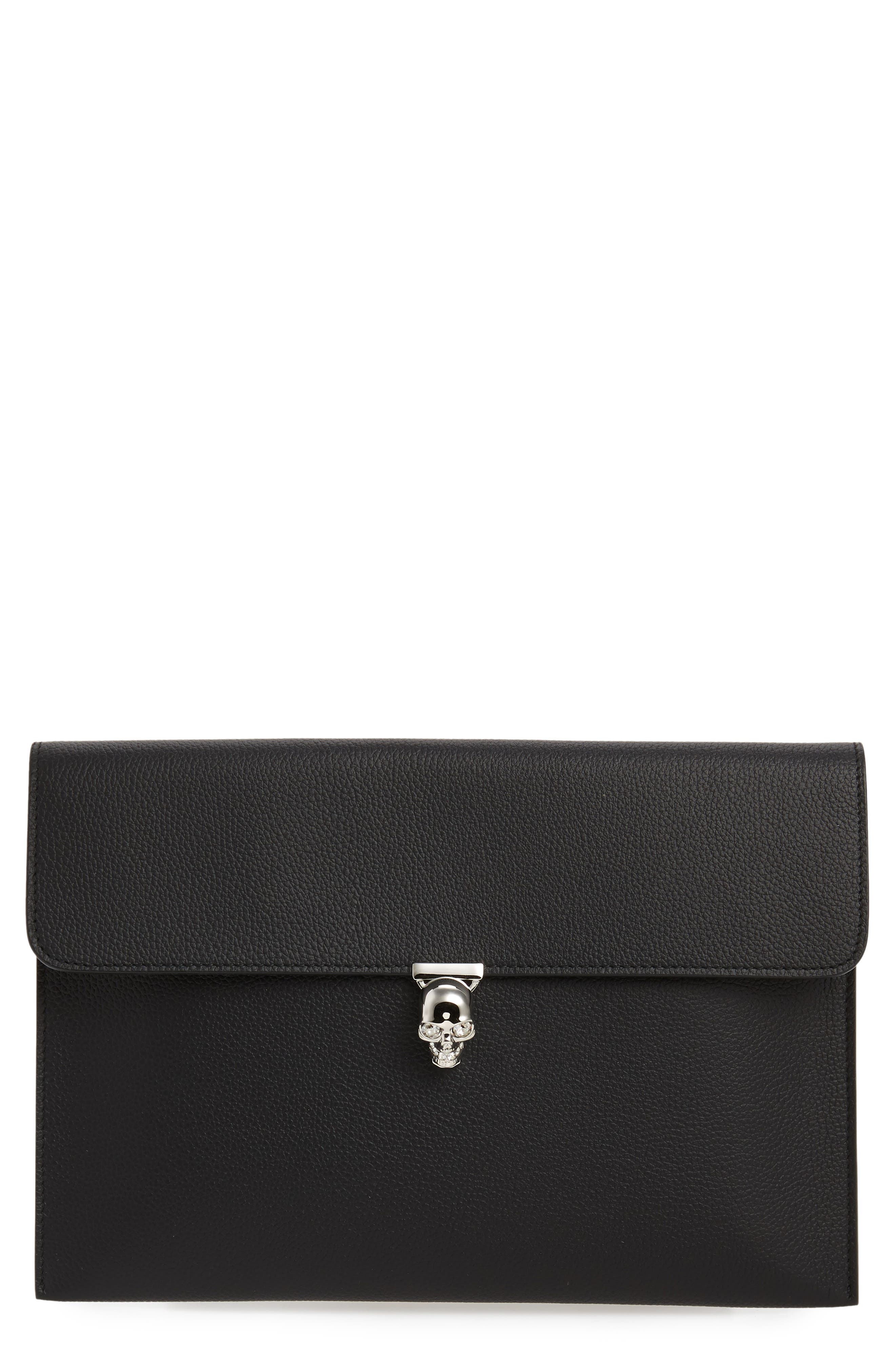 Alexander McQueen Womens Pouch On Sale, Black, Leather, 2017, one size