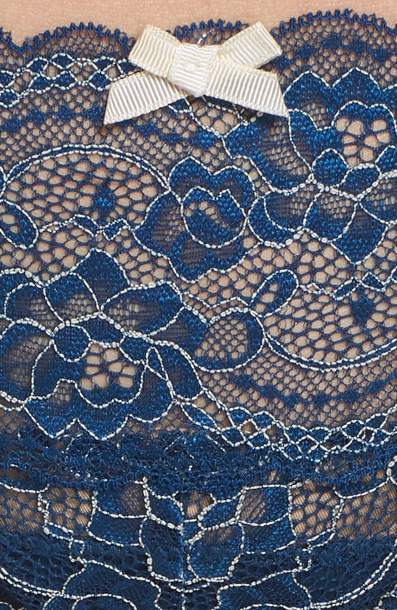 'Obsessed' Lace Thong,                             Alternate thumbnail 3, color,                             Aqua Marine/ Sea Shell