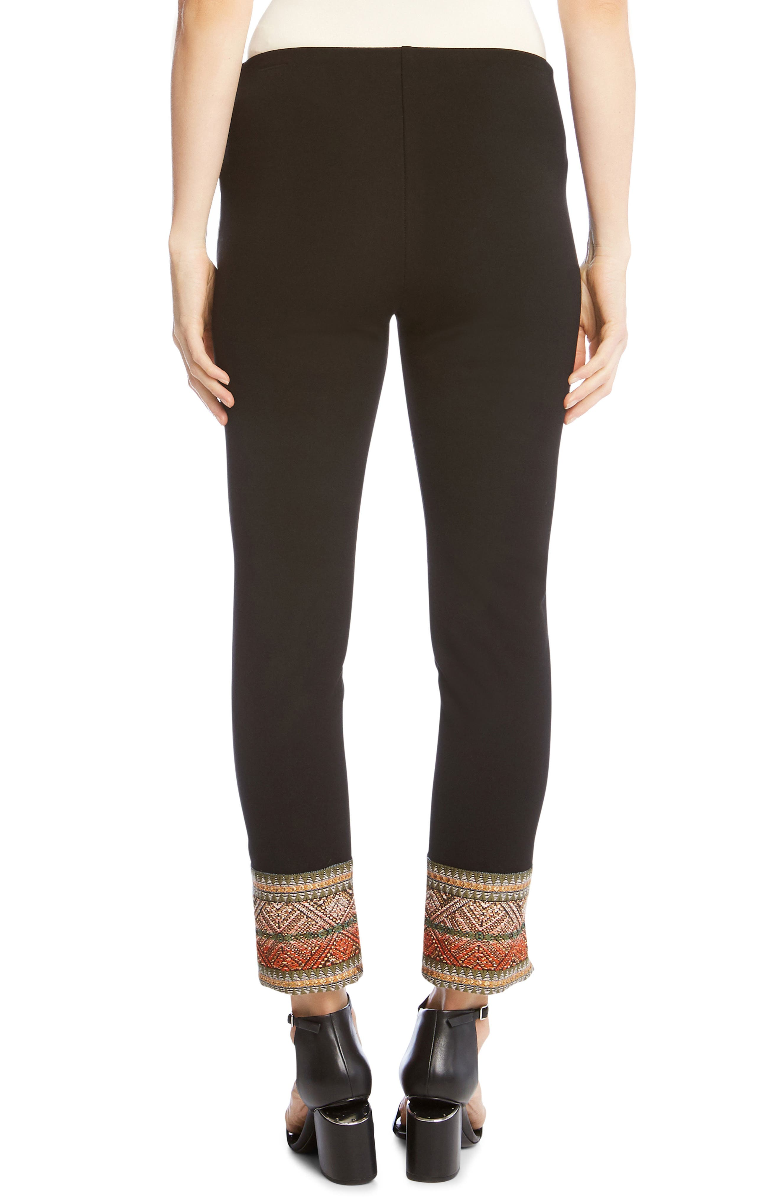 Piper Ribbon Border Ankle Pants,                             Alternate thumbnail 2, color,                             Black