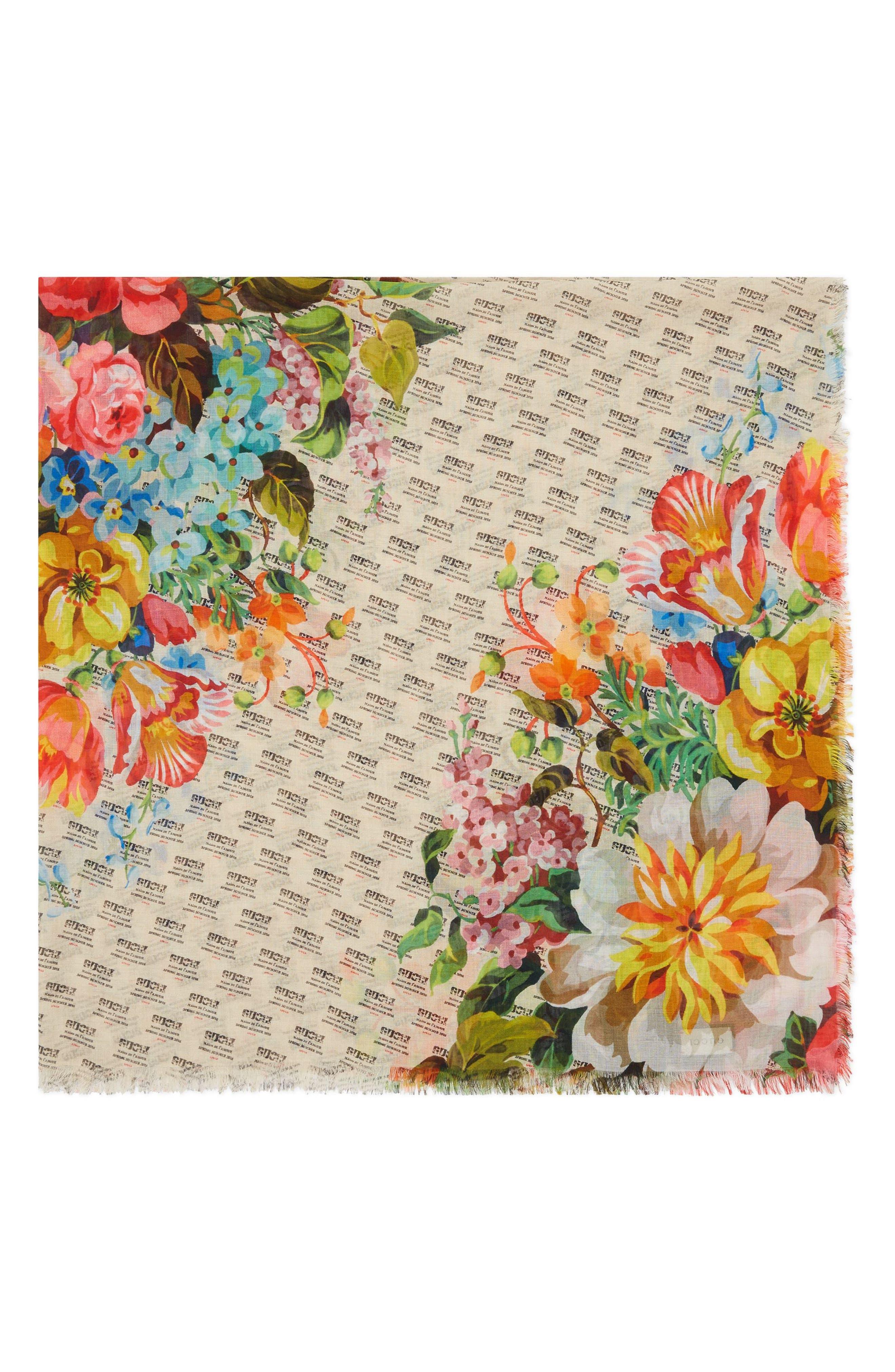 Night Flowers Modal & Silk Shawl,                             Alternate thumbnail 4, color,                             Ivory/ Multicolor