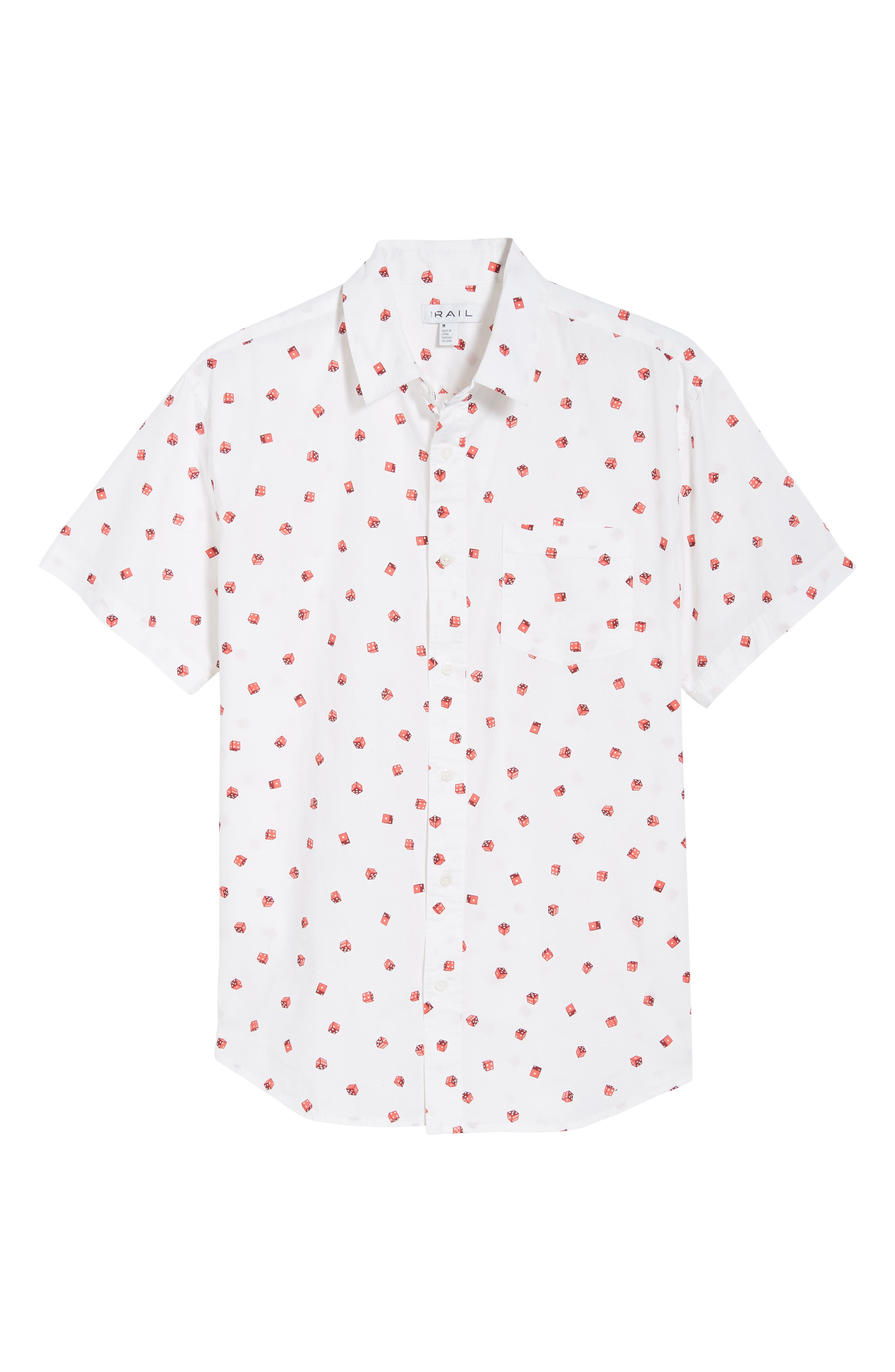 Print Camp Shirt,                             Alternate thumbnail 6, color,                             White / Red Rumba No Dice