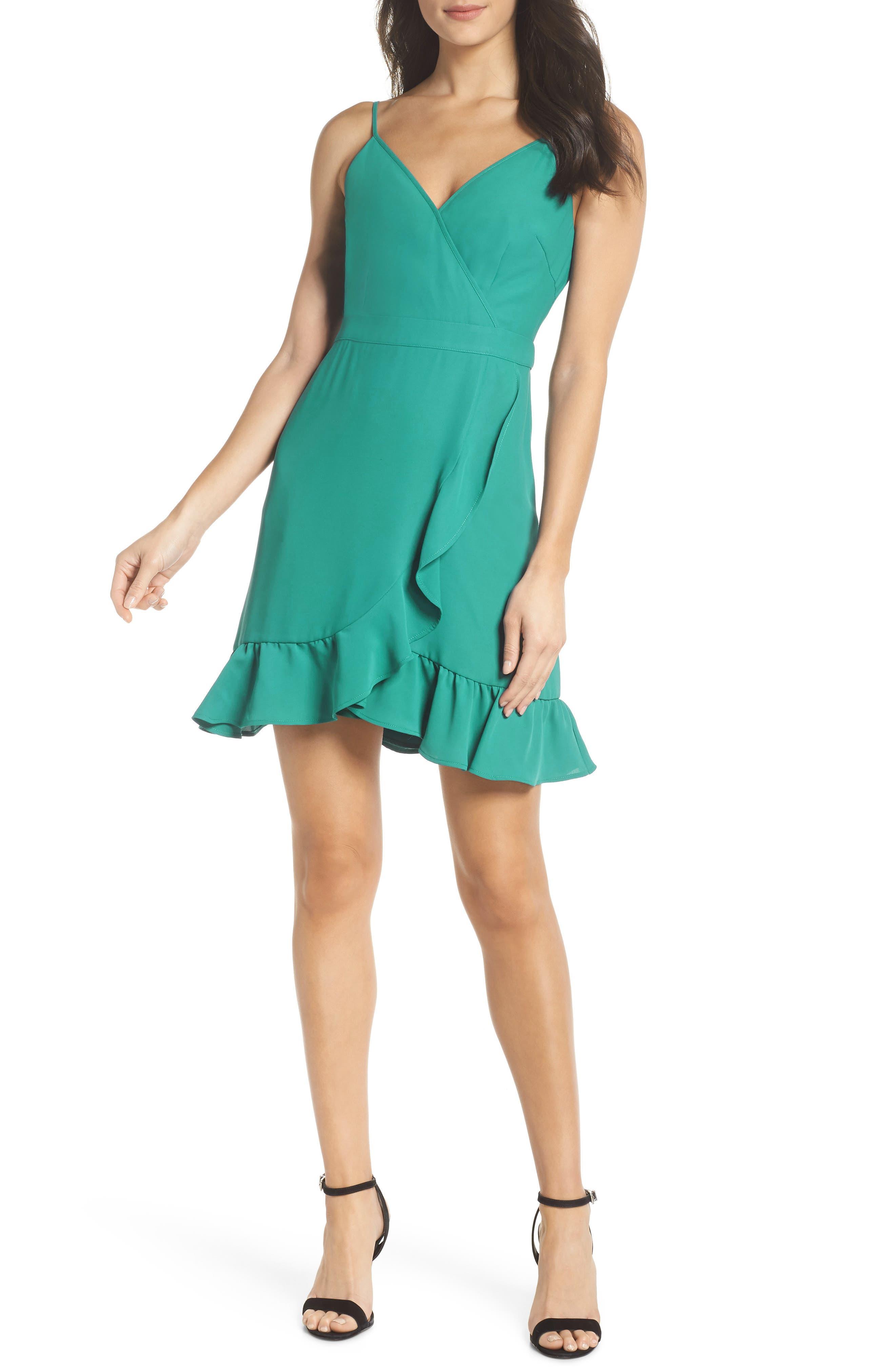 Crepe Skater Dress,                         Main,                         color, Aquamarine