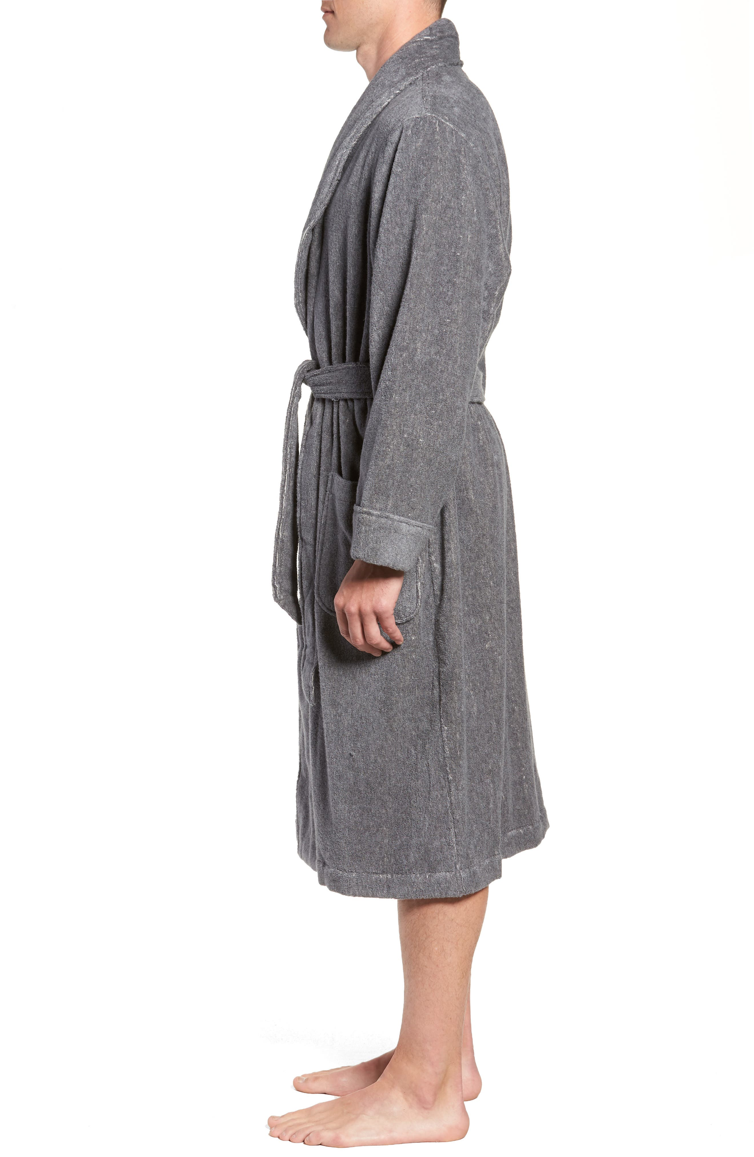 Hydro Cotton Terry Robe,                             Alternate thumbnail 5, color,                             Charcoal Heather