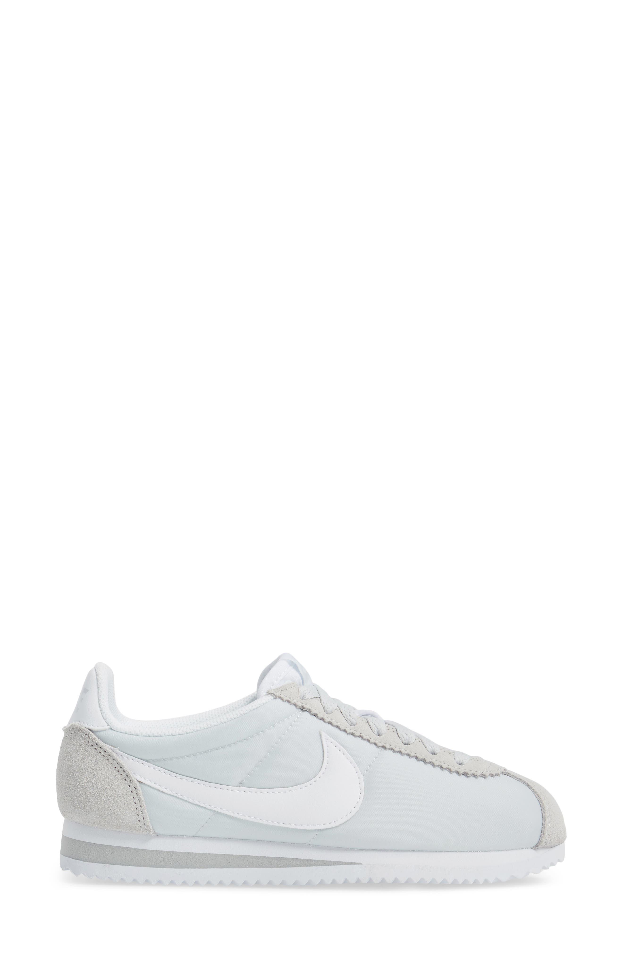 'Classic Cortez' Sneaker,                             Alternate thumbnail 3, color,                             Pure Platinum/ White