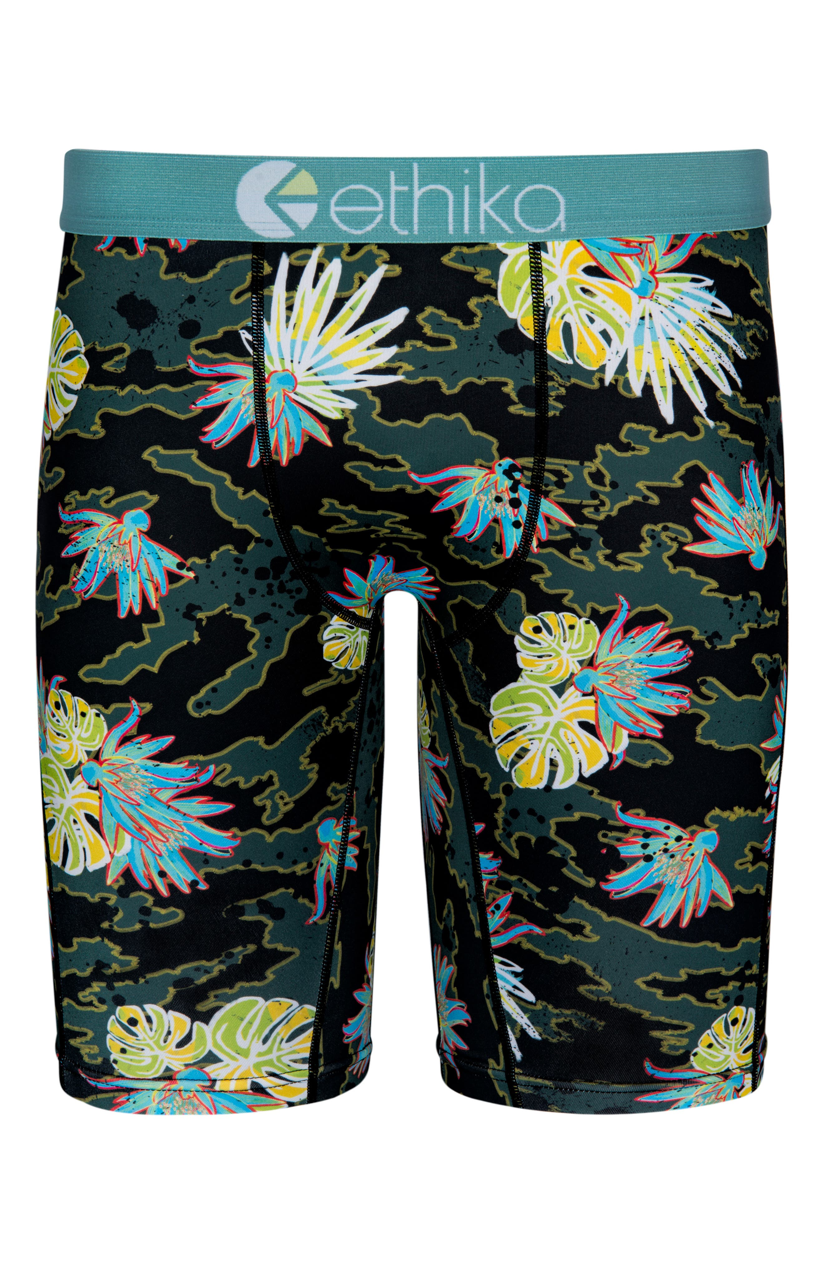 Cammo Paradise Stretch Boxer Briefs,                             Main thumbnail 1, color,                             Green
