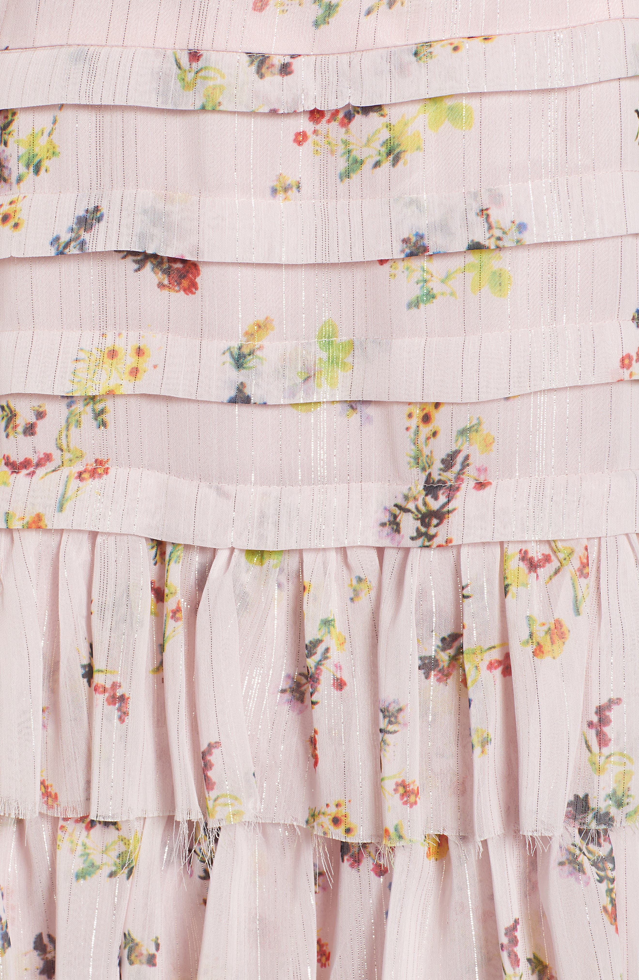 Mina Ruffled Cold Shoulder Dress,                             Alternate thumbnail 6, color,                             Multi