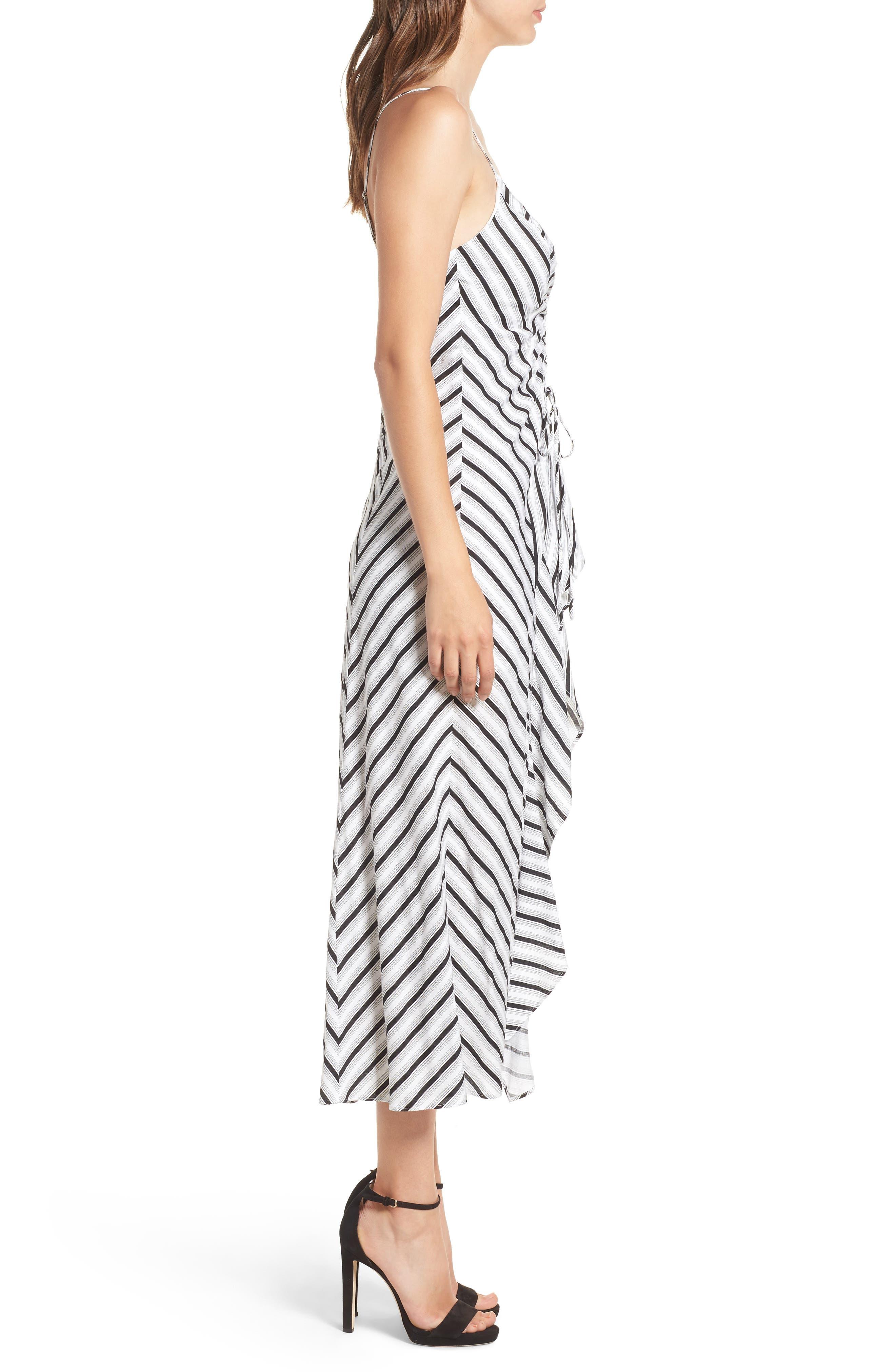 Stripe Gathered High/Low Dress,                             Alternate thumbnail 3, color,                             Black Stripe