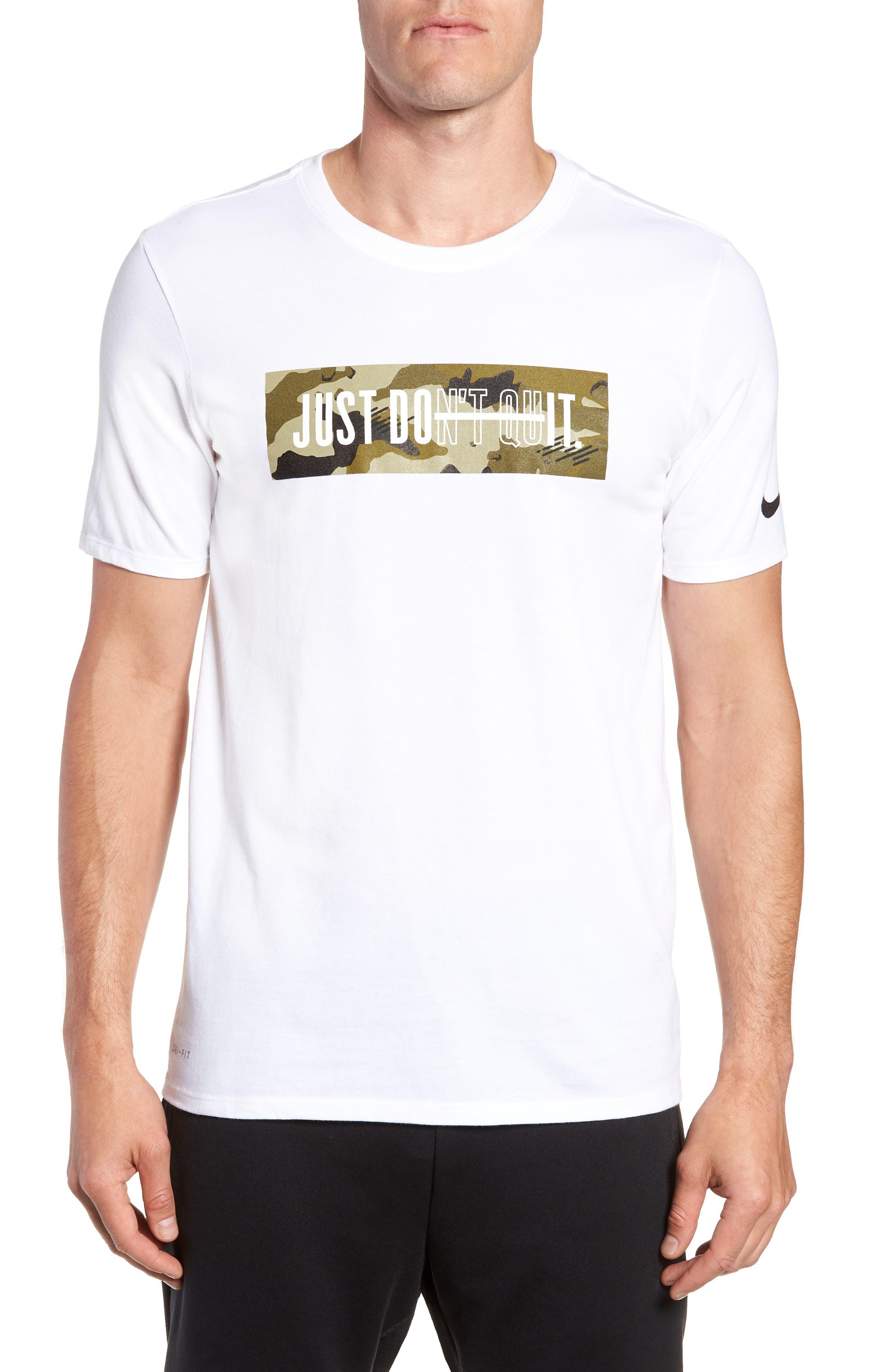 Dry Just Don't Quit T-Shirt,                             Main thumbnail 1, color,                             White/ Neutral Olive/ Black