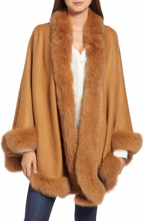 1d0f3fb426d Belle Fare Genuine Fox Fur Trim Cashmere Cape