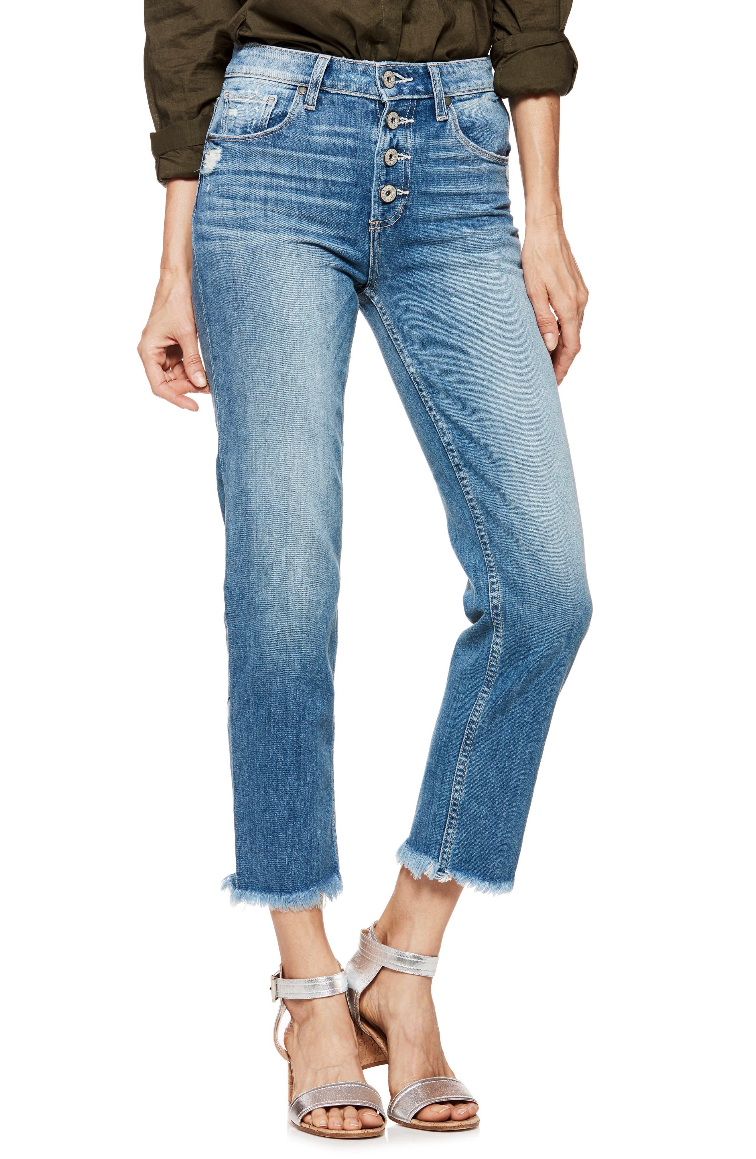 Sarah High Waist Straight Leg Jeans,                             Main thumbnail 1, color,                             Venice
