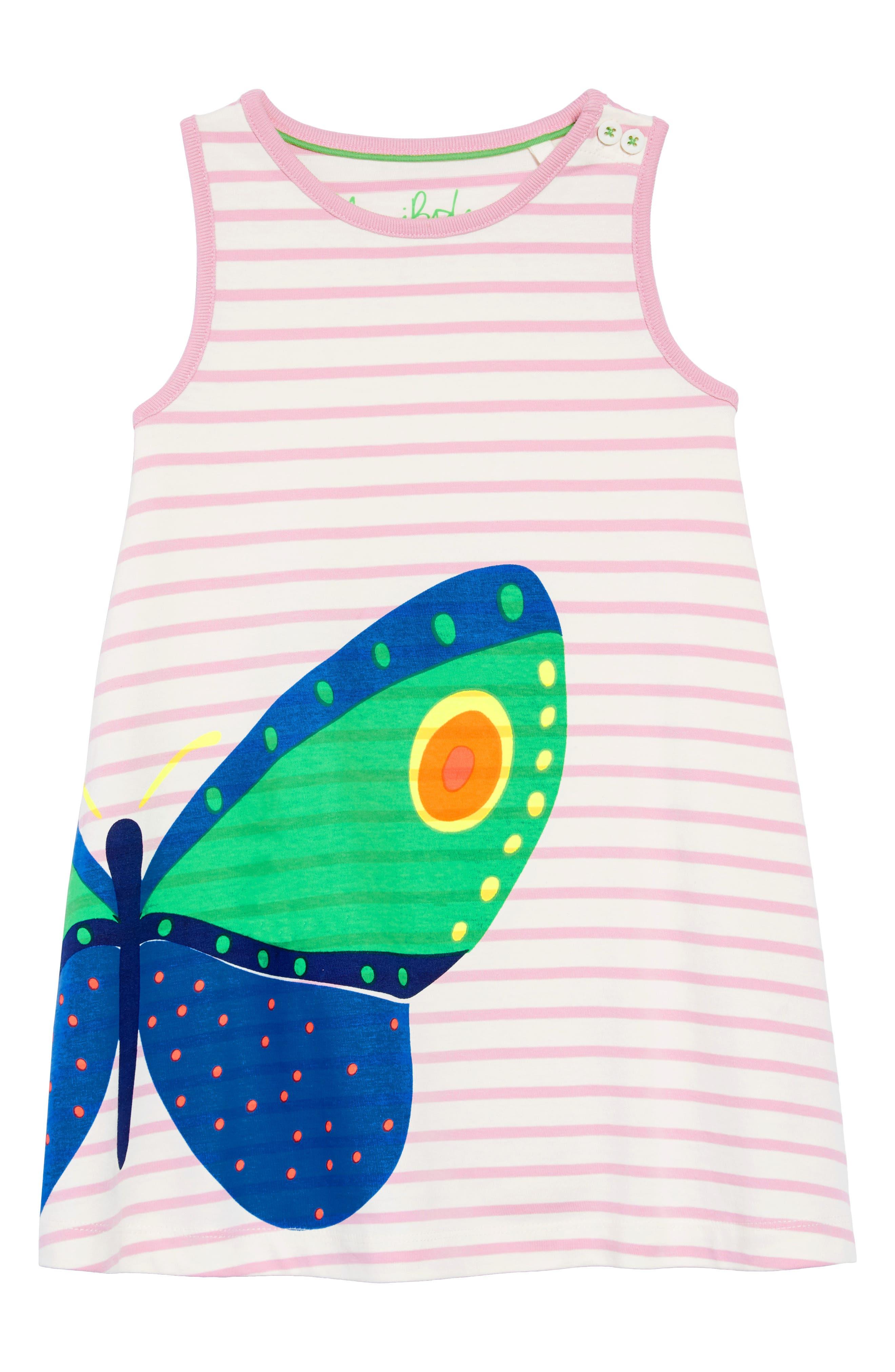 Vacation Appliqué Dress,                             Main thumbnail 1, color,                             Ivory/ Rosebud Stripe