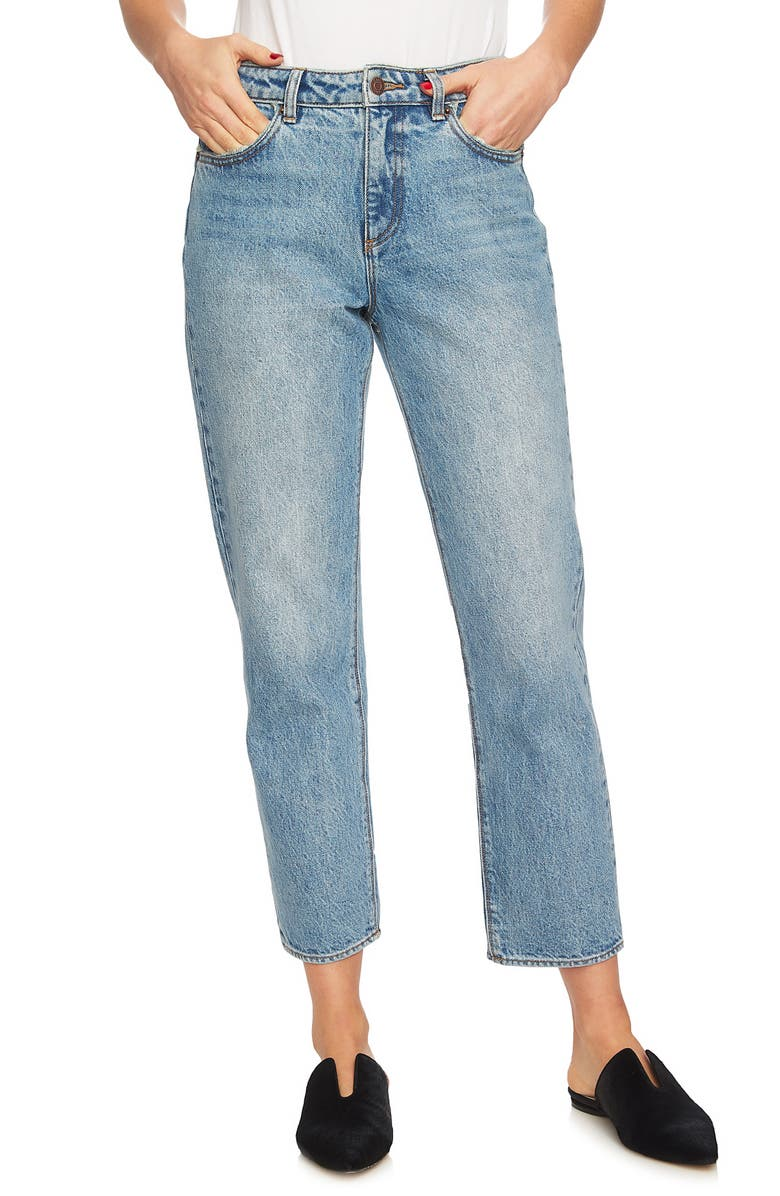 Mid-Rise Straight Leg Ankle Jeans
