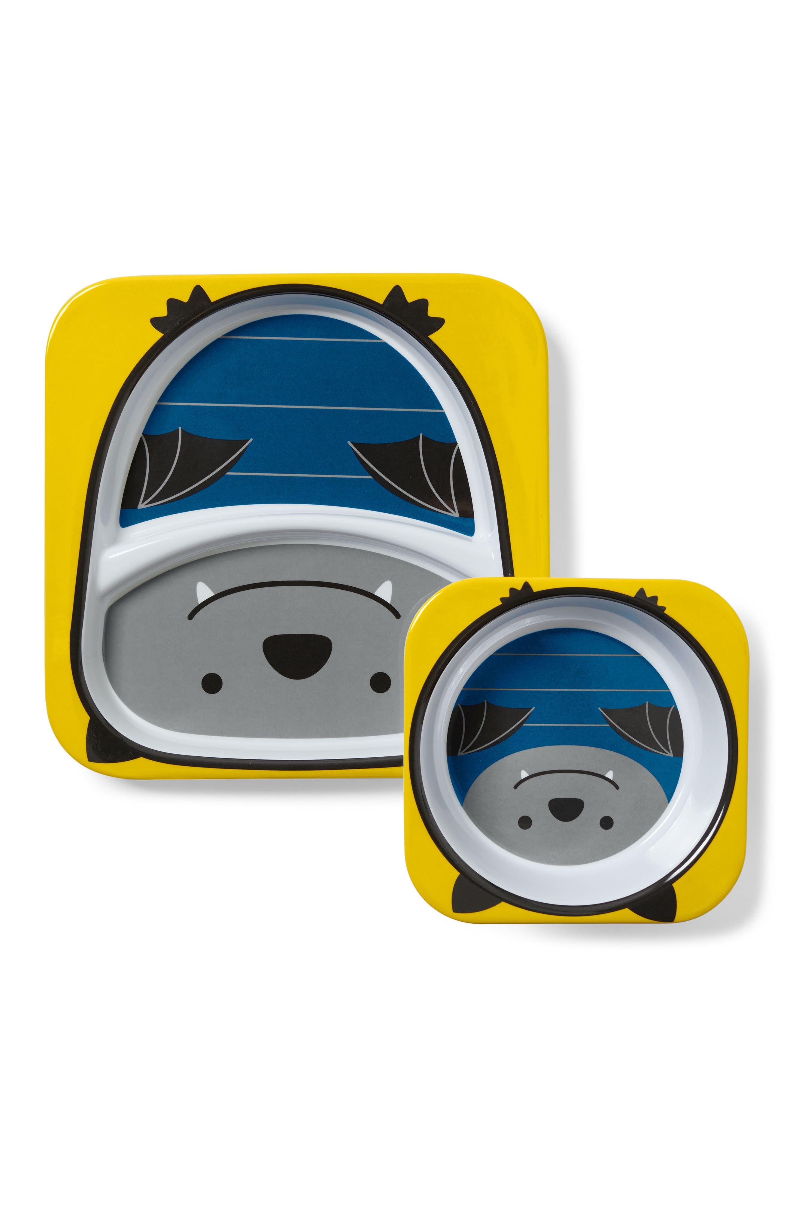 Zoo Bat Melamine Plate & Bowl Set,                             Main thumbnail 1, color,                             Navy Blue
