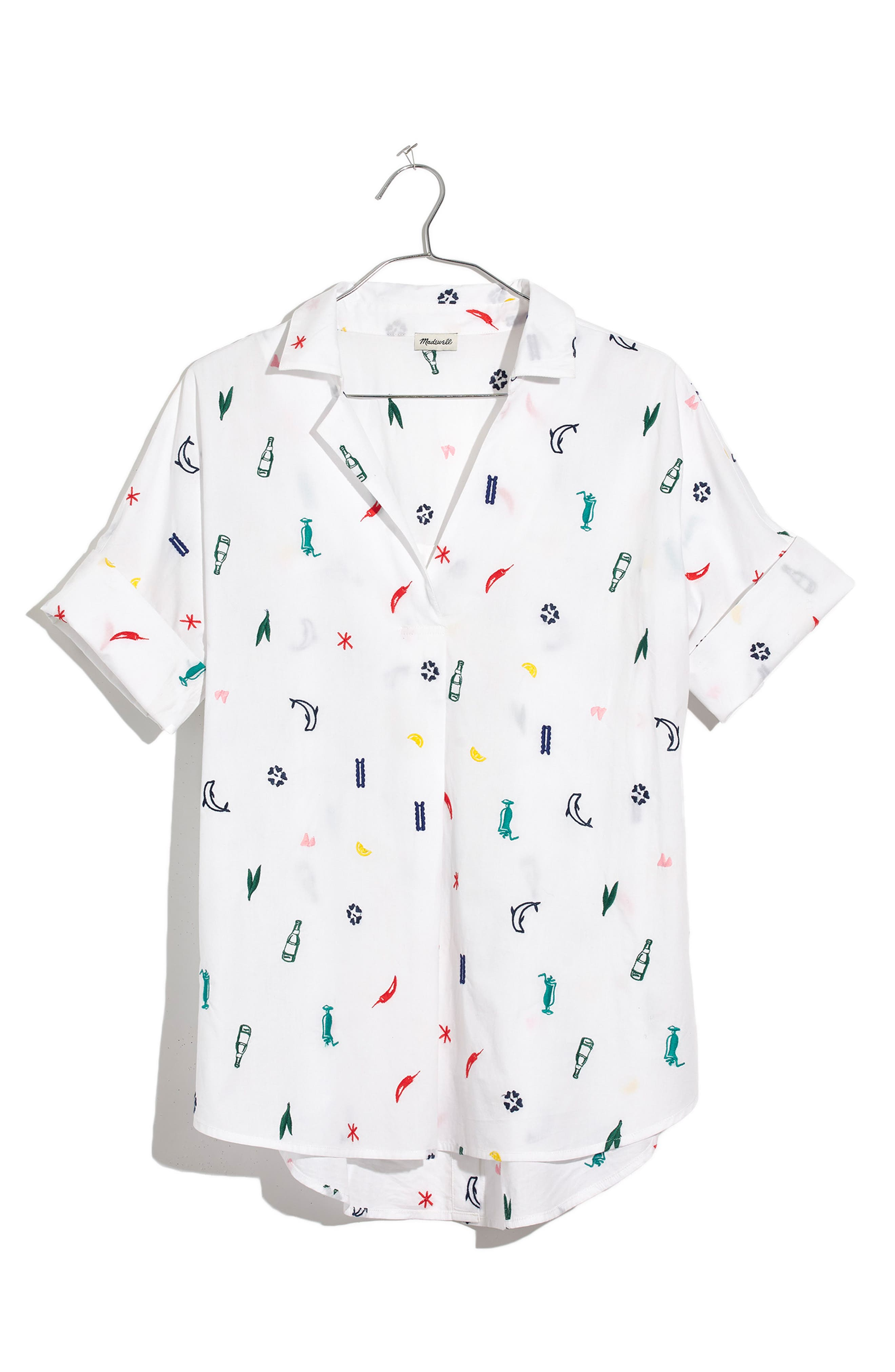Summer Friday Embroidered Courier Shirt,                             Main thumbnail 1, color,                             Eyelet White