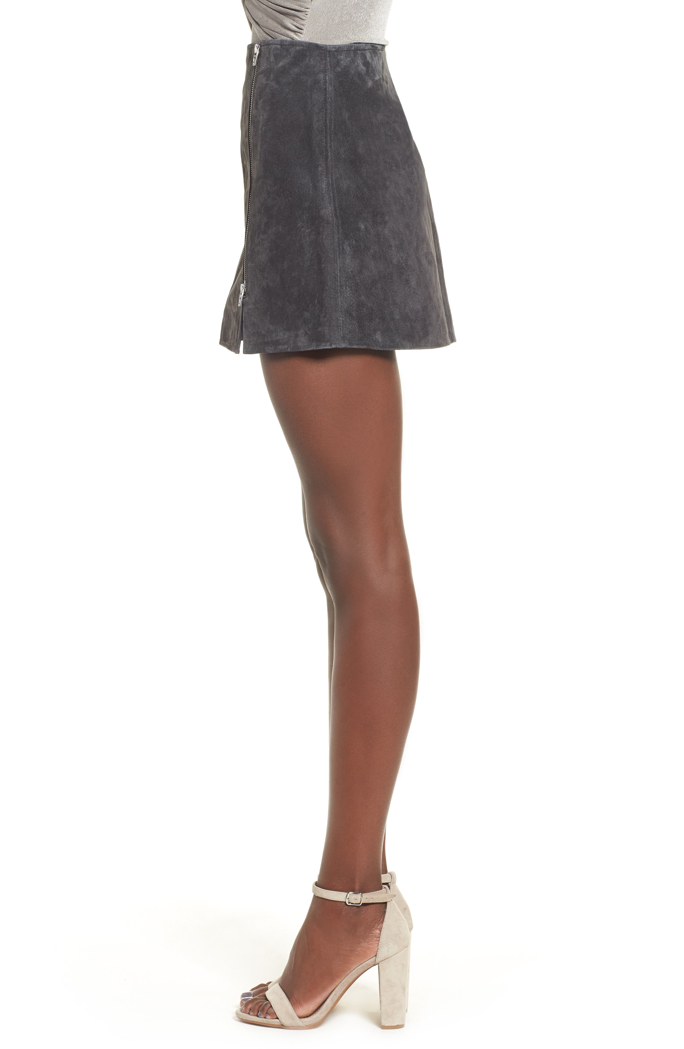 Suede Miniskirt,                             Alternate thumbnail 3, color,                             Dark And Stormy