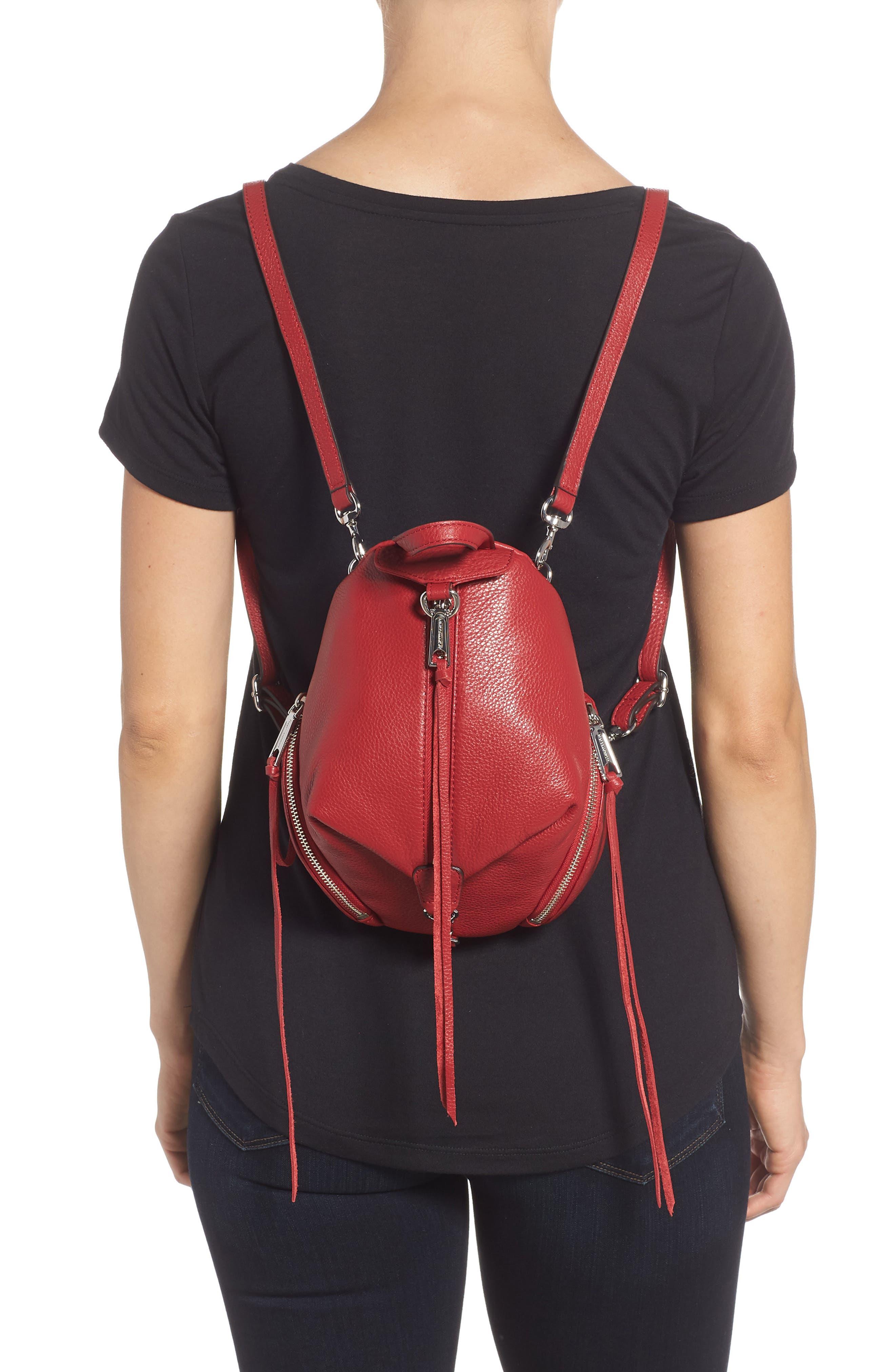 Mini Julian Nubuck Leather Convertible Backpack,                             Alternate thumbnail 2, color,                             Scarlet