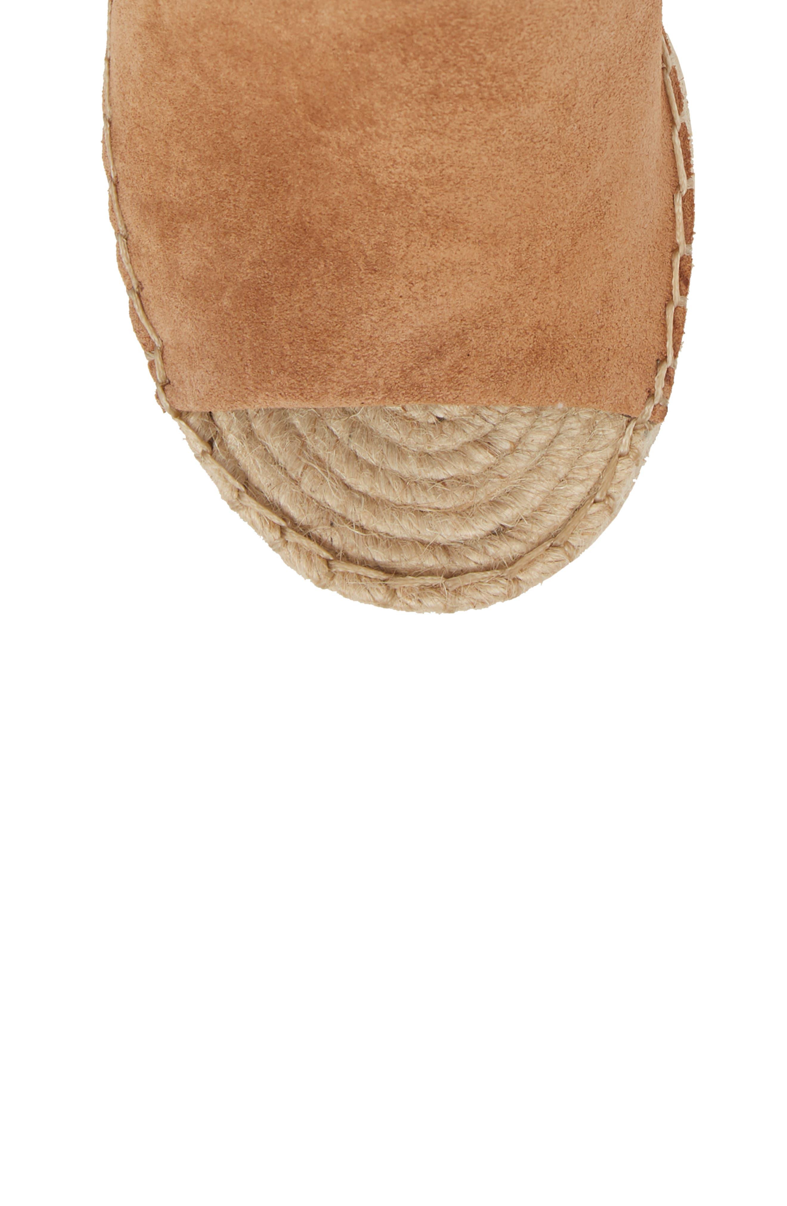 Straw Wedge Espadrille Sandal,                             Alternate thumbnail 5, color,                             Dark Saddle