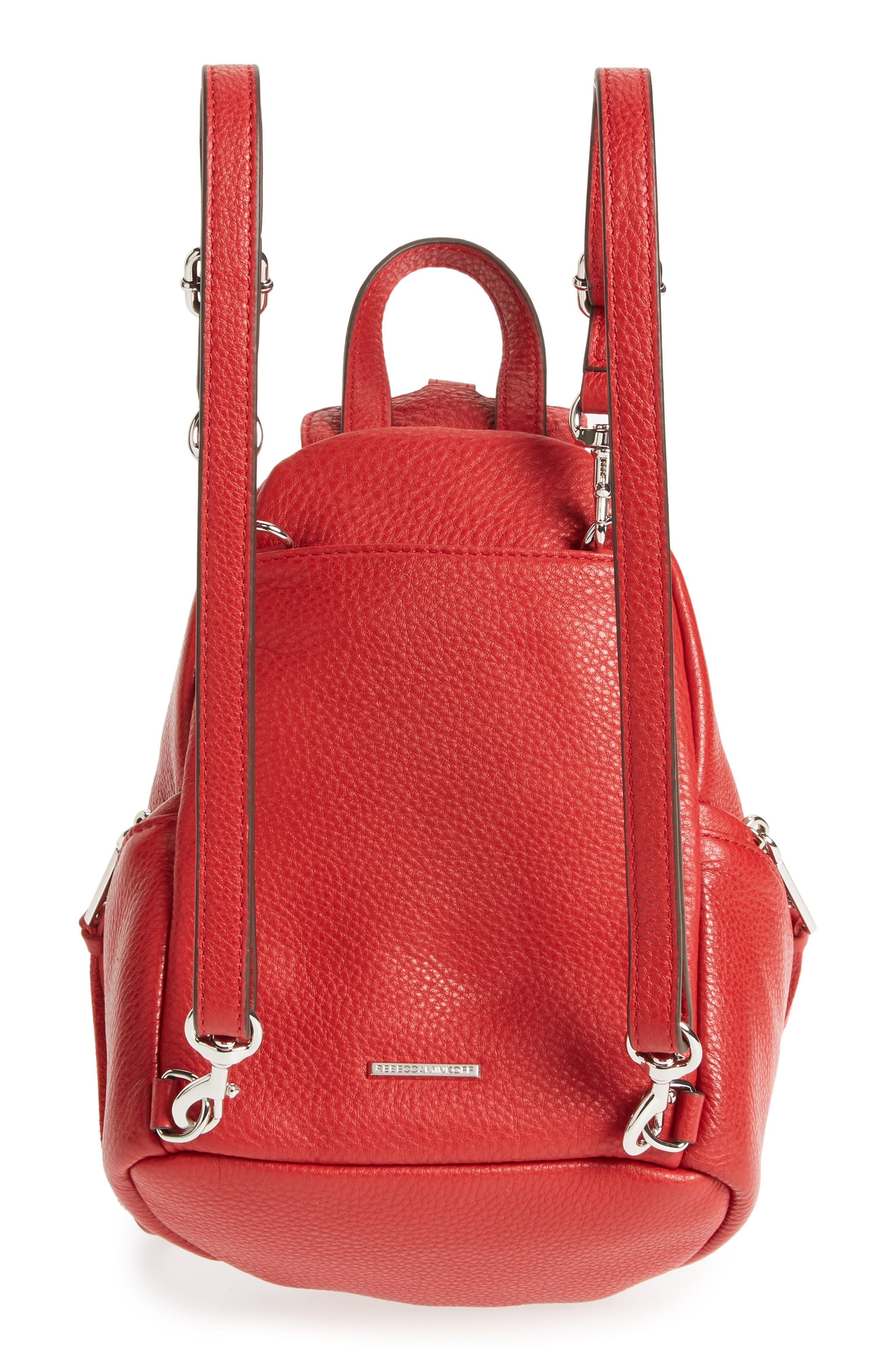 Mini Julian Nubuck Leather Convertible Backpack,                             Alternate thumbnail 4, color,                             Scarlet