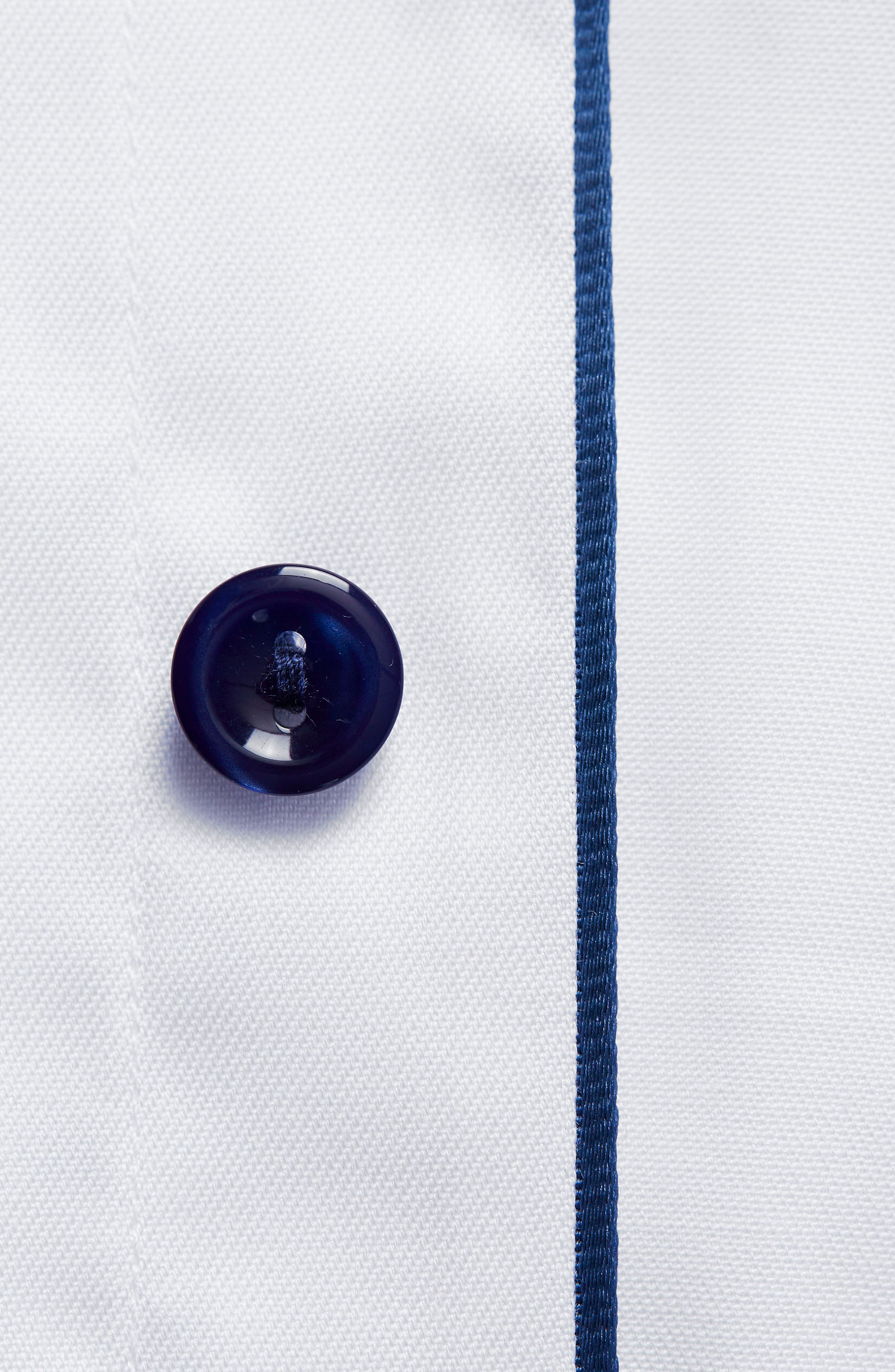Slim Fit Twill Dress Shirt with Grey Details,                             Alternate thumbnail 3, color,                             White/ Navy