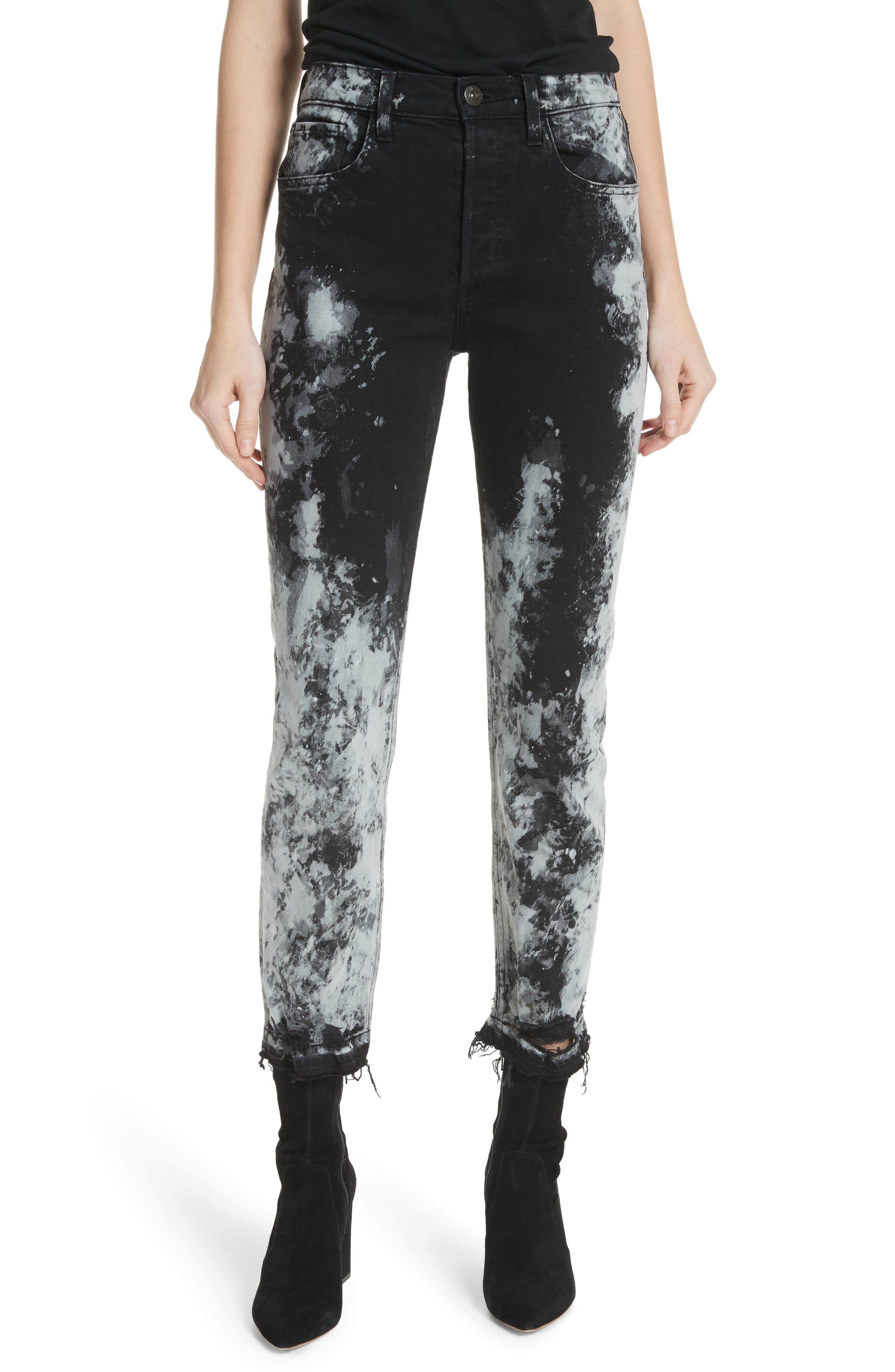 W3 Higher Ground Cropped Jeans W/ Distressed Hem in Kuro Marble