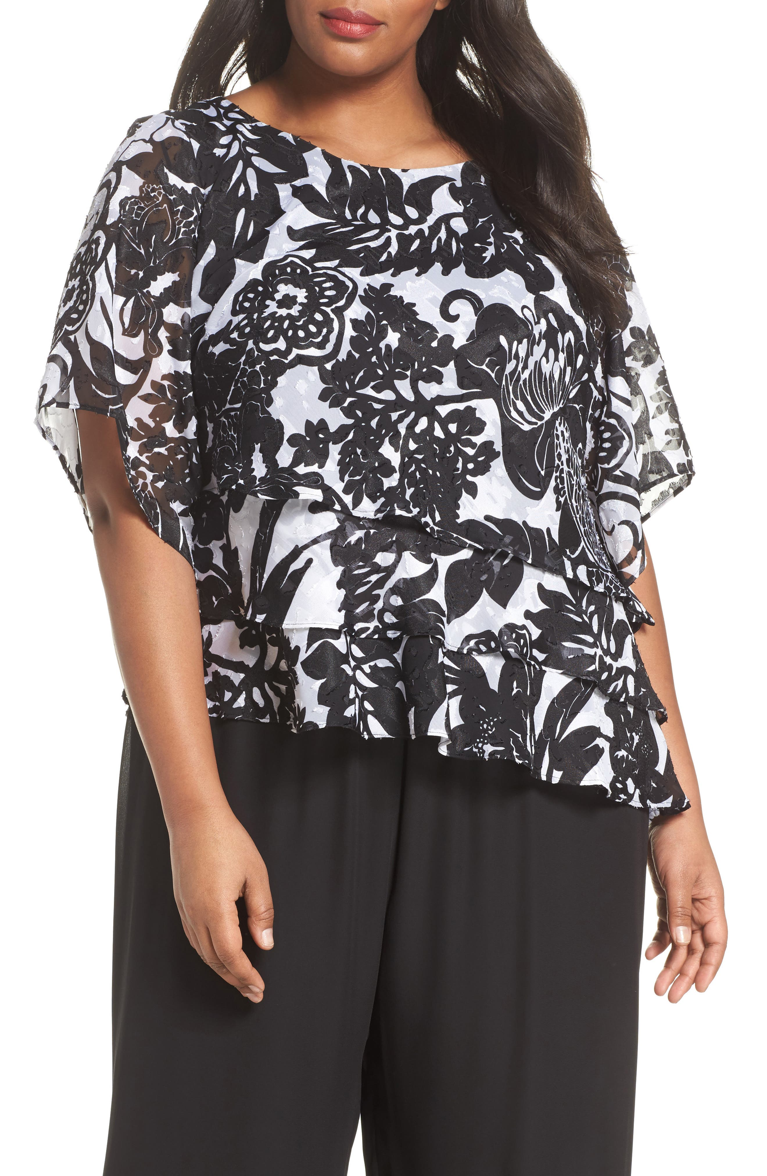 Print Tiered Blouse,                         Main,                         color, Black/ White