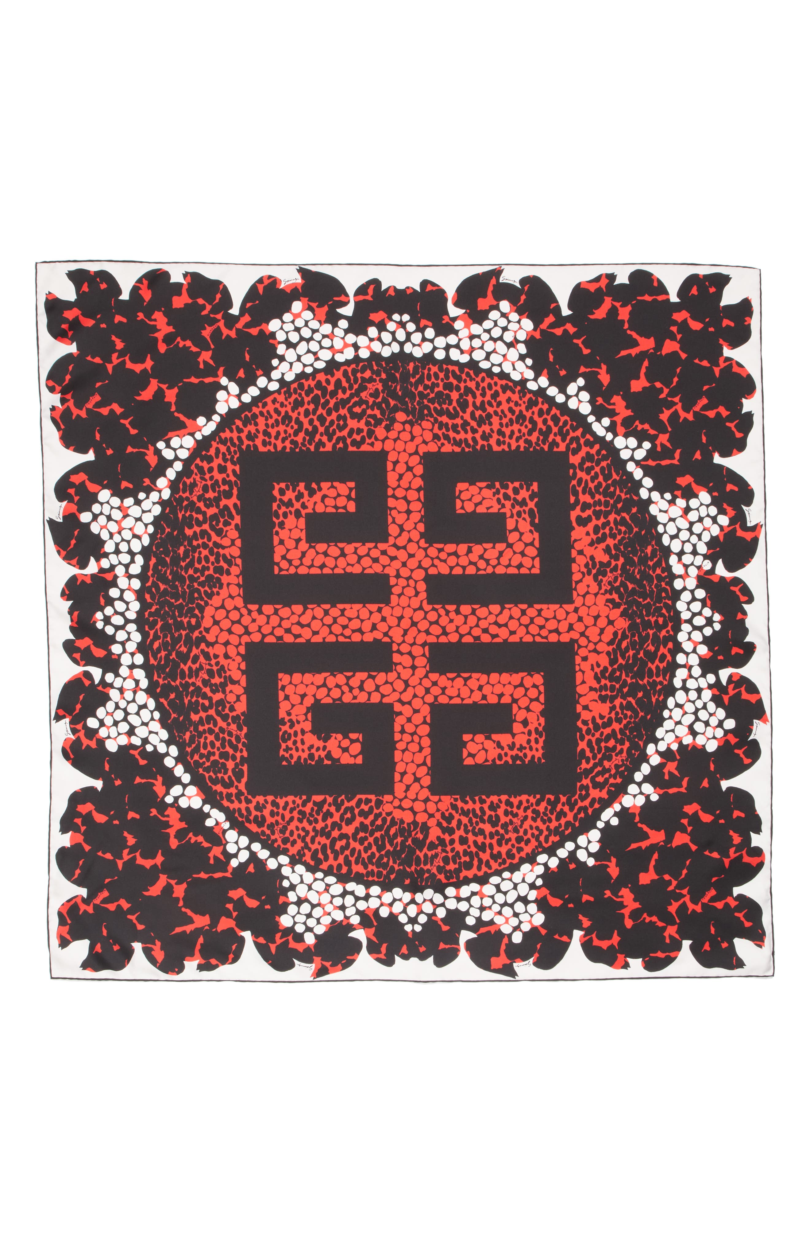 4G Patchwork Silk Scarf,                             Alternate thumbnail 2, color,                             White/ Red
