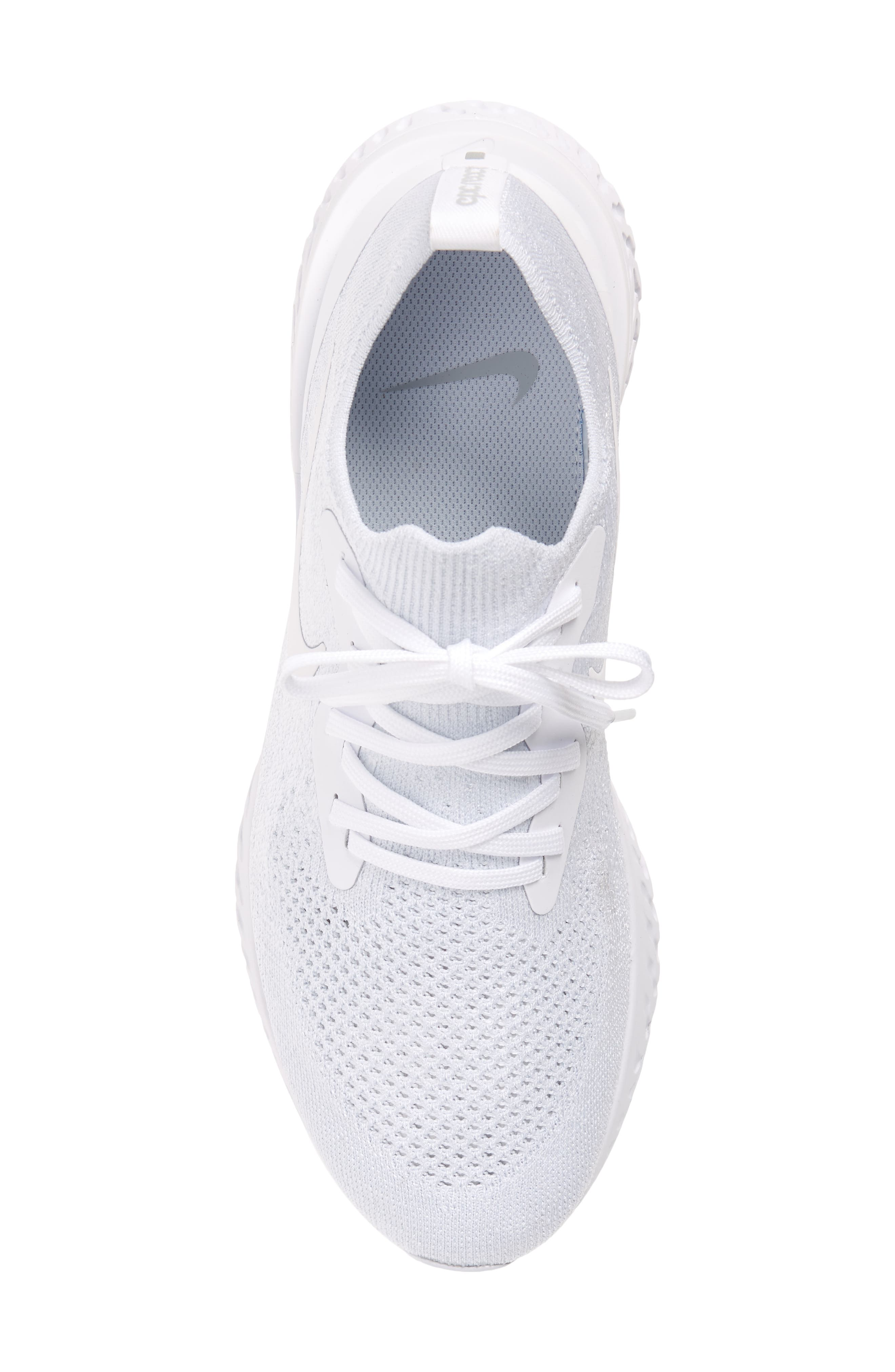 Epic React Flyknit Running Shoe,                             Alternate thumbnail 4, color,                             White