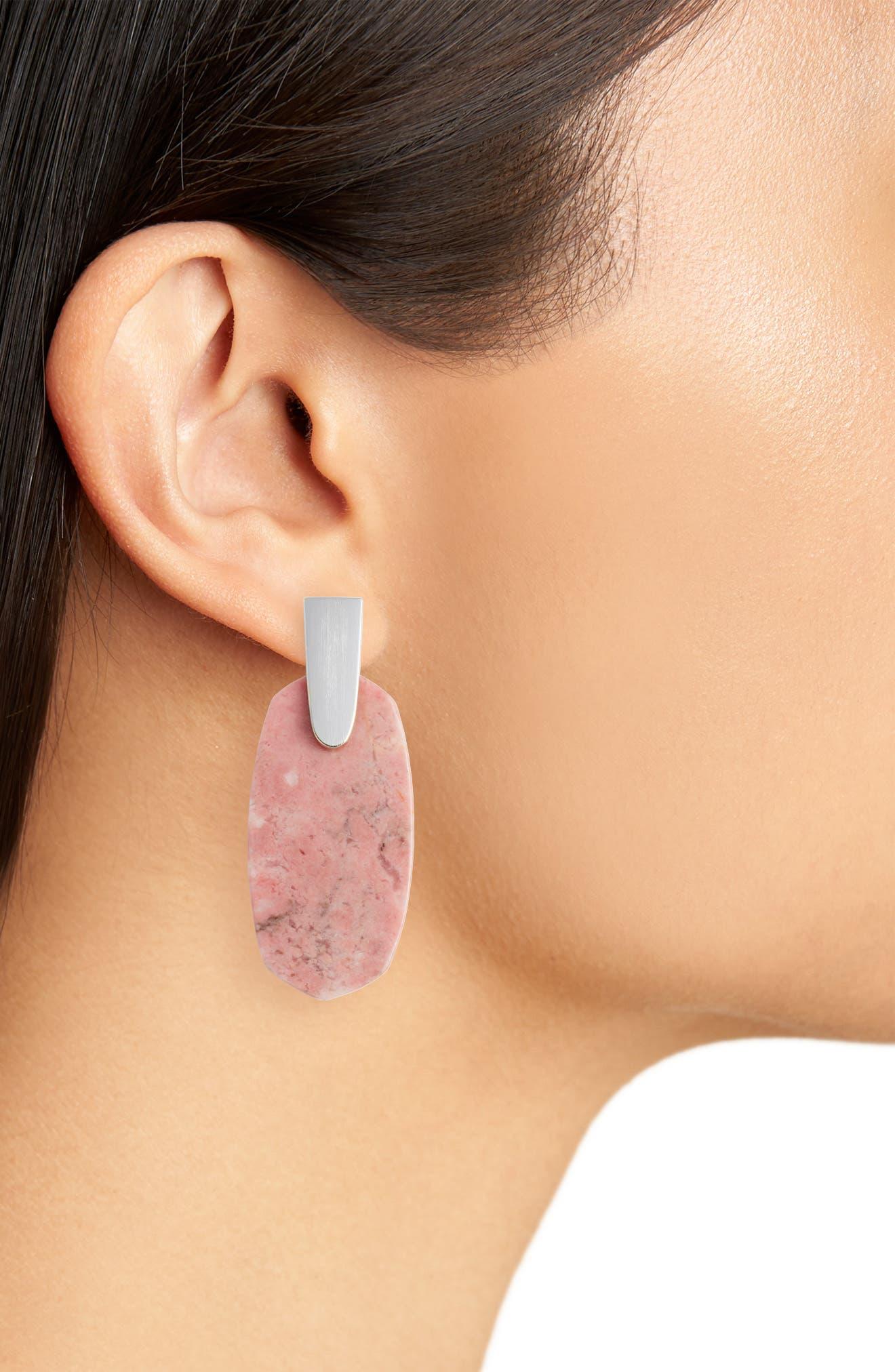 Aragon Drop Earrings,                             Alternate thumbnail 2, color,                             Pink Rhodonite/ Gold