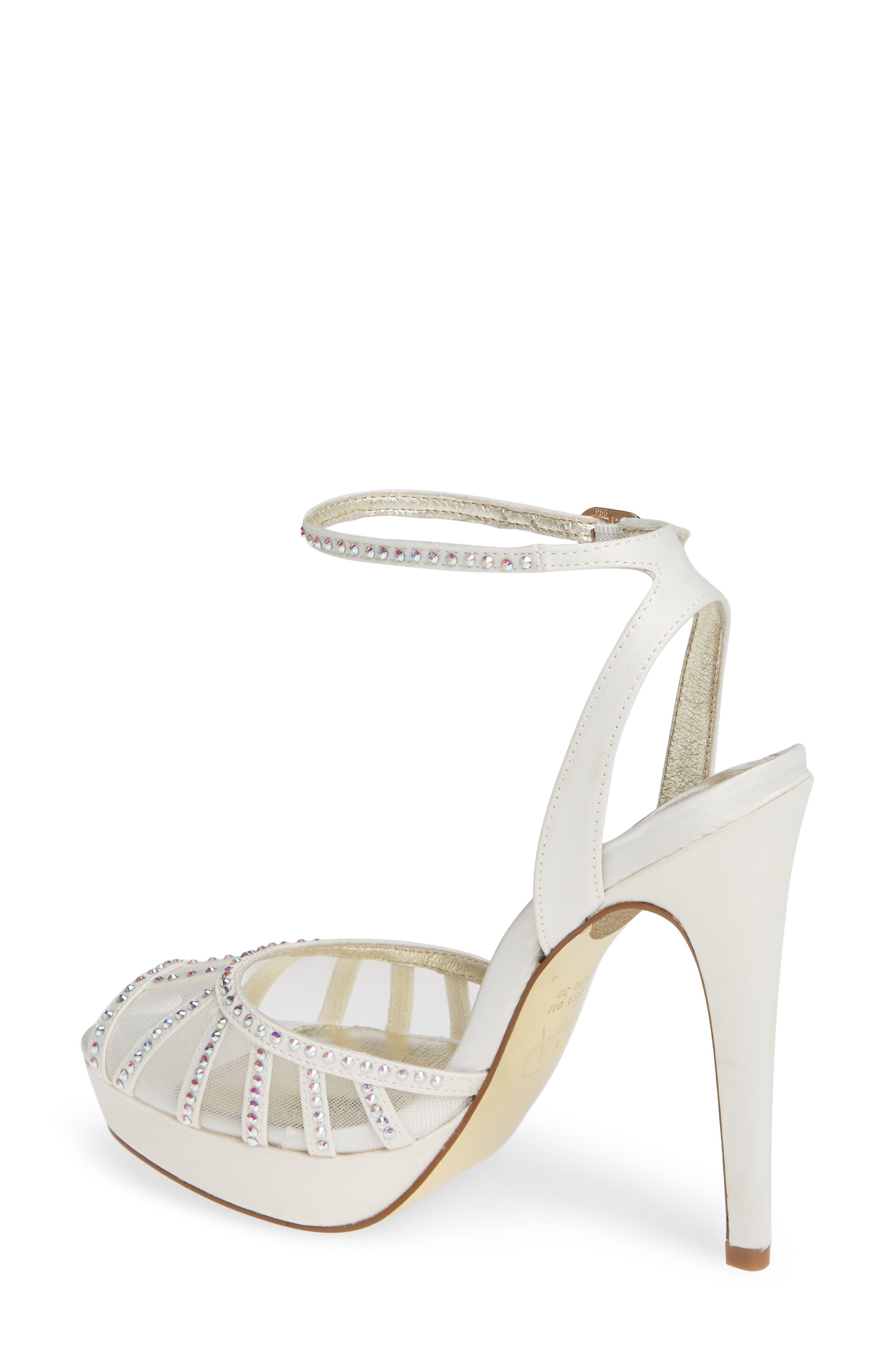 Simone Crystal Embellished Platform Sandal,                             Alternate thumbnail 2, color,                             Ivory