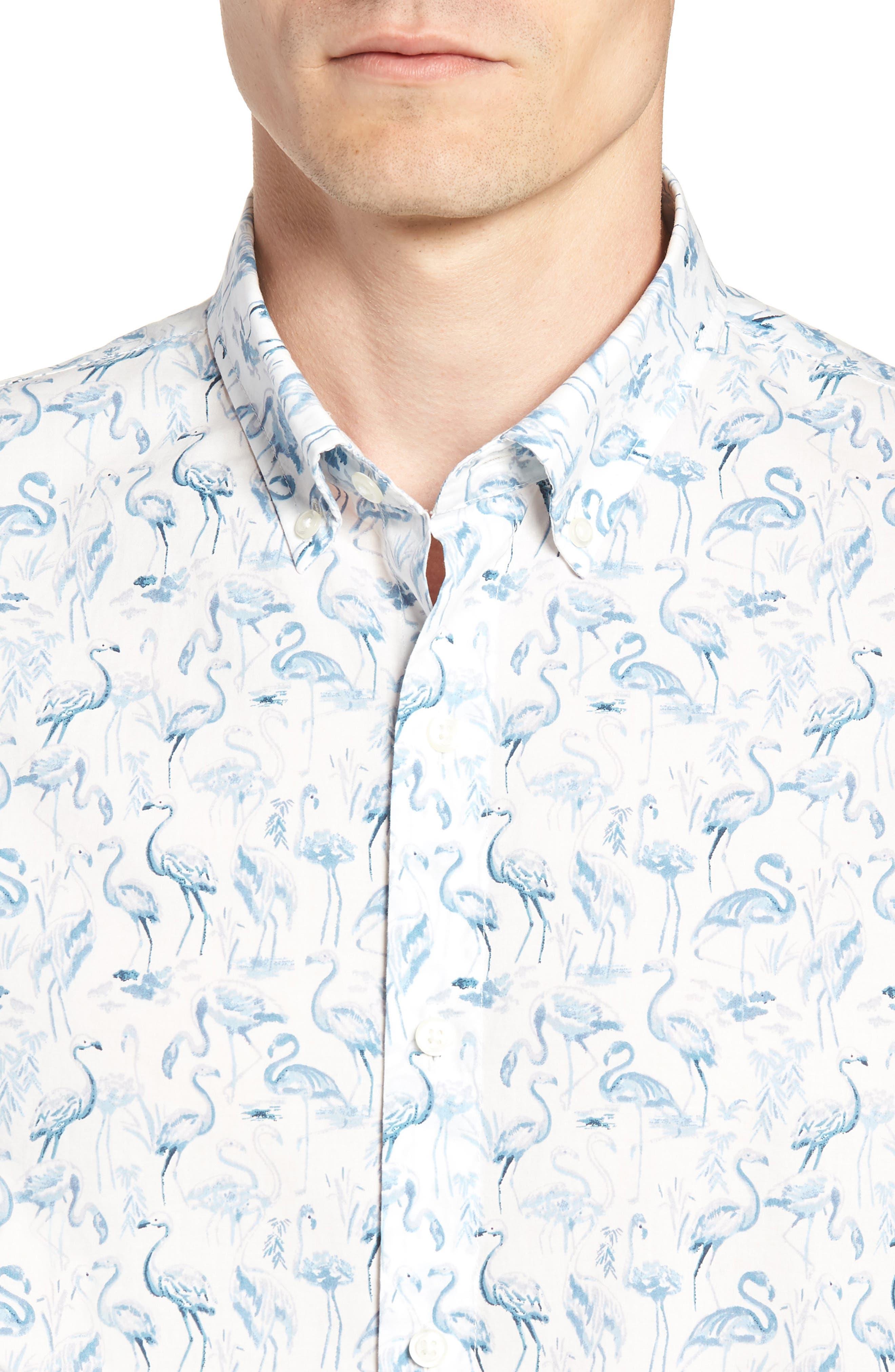 Riviera Slim Fit Flamingo Print Sport Shirt,                             Alternate thumbnail 2, color,                             Watercolor Flamingo - Blue