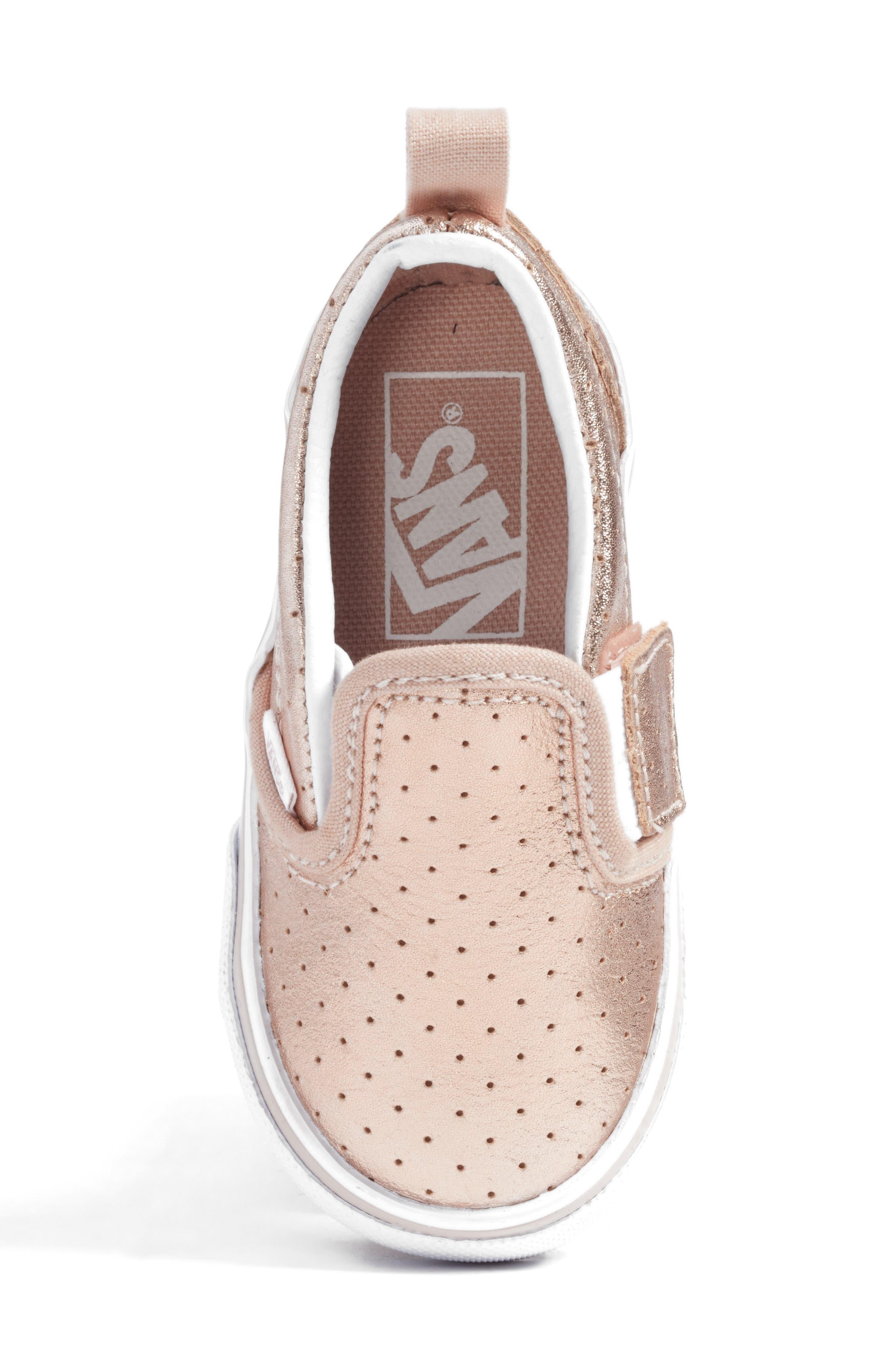 'Classic' Slip-On Sneaker,                             Alternate thumbnail 5, color,                             Rose Gold Perf Leather