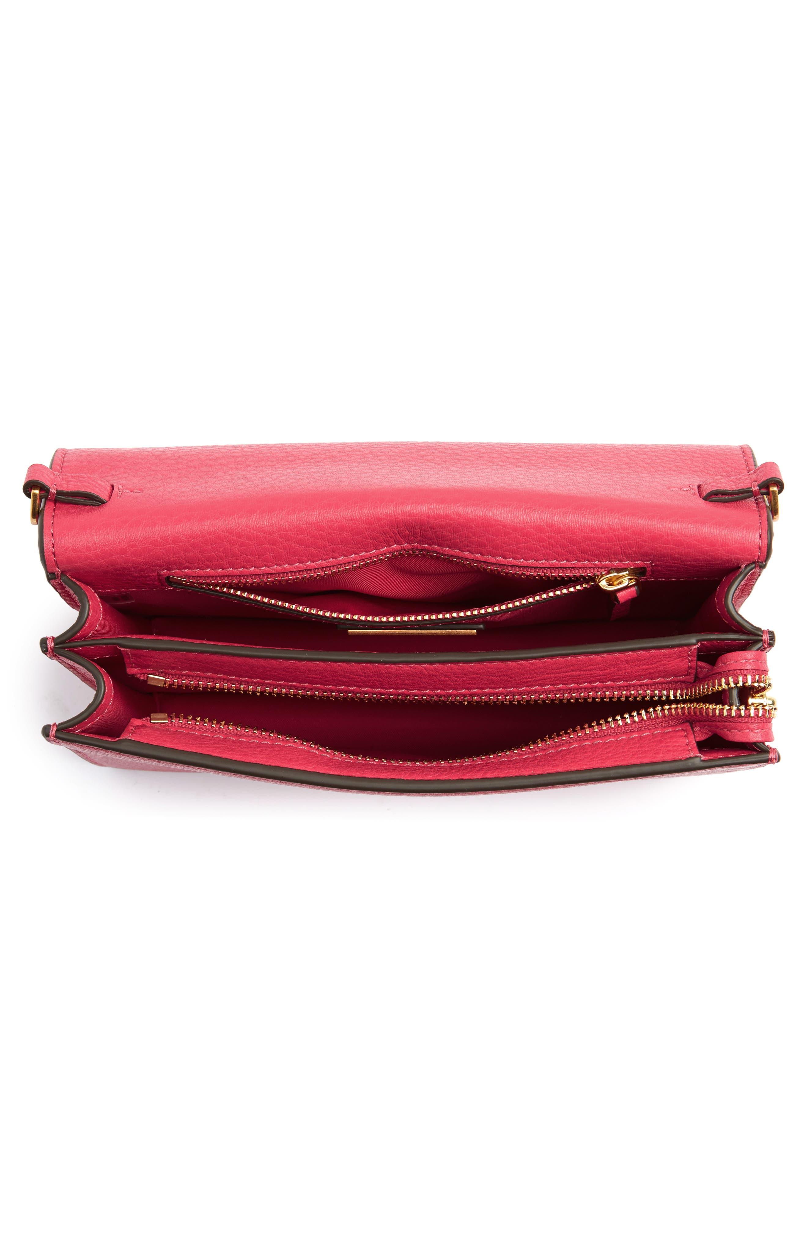 Georgia Pebble Leather Shoulder Bag,                             Alternate thumbnail 6, color,                             Bright Azalea