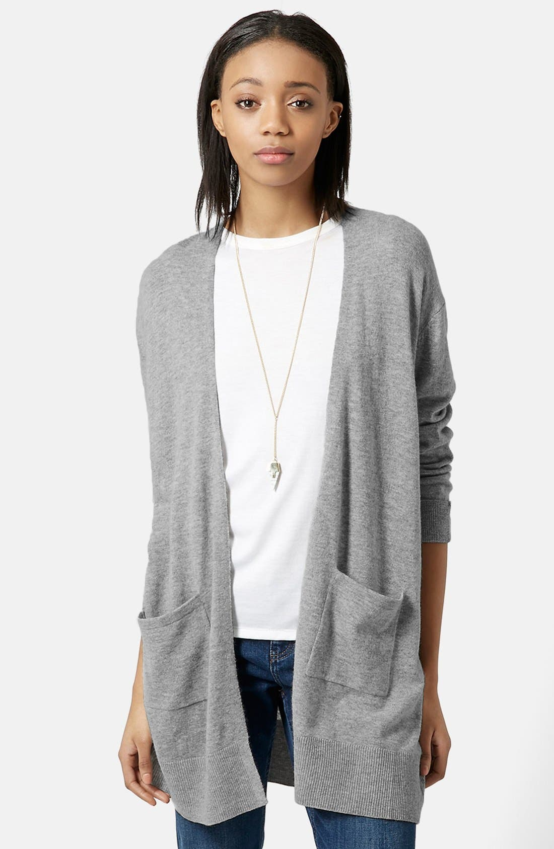 Main Image - Topshop Longline Open Front Cardigan