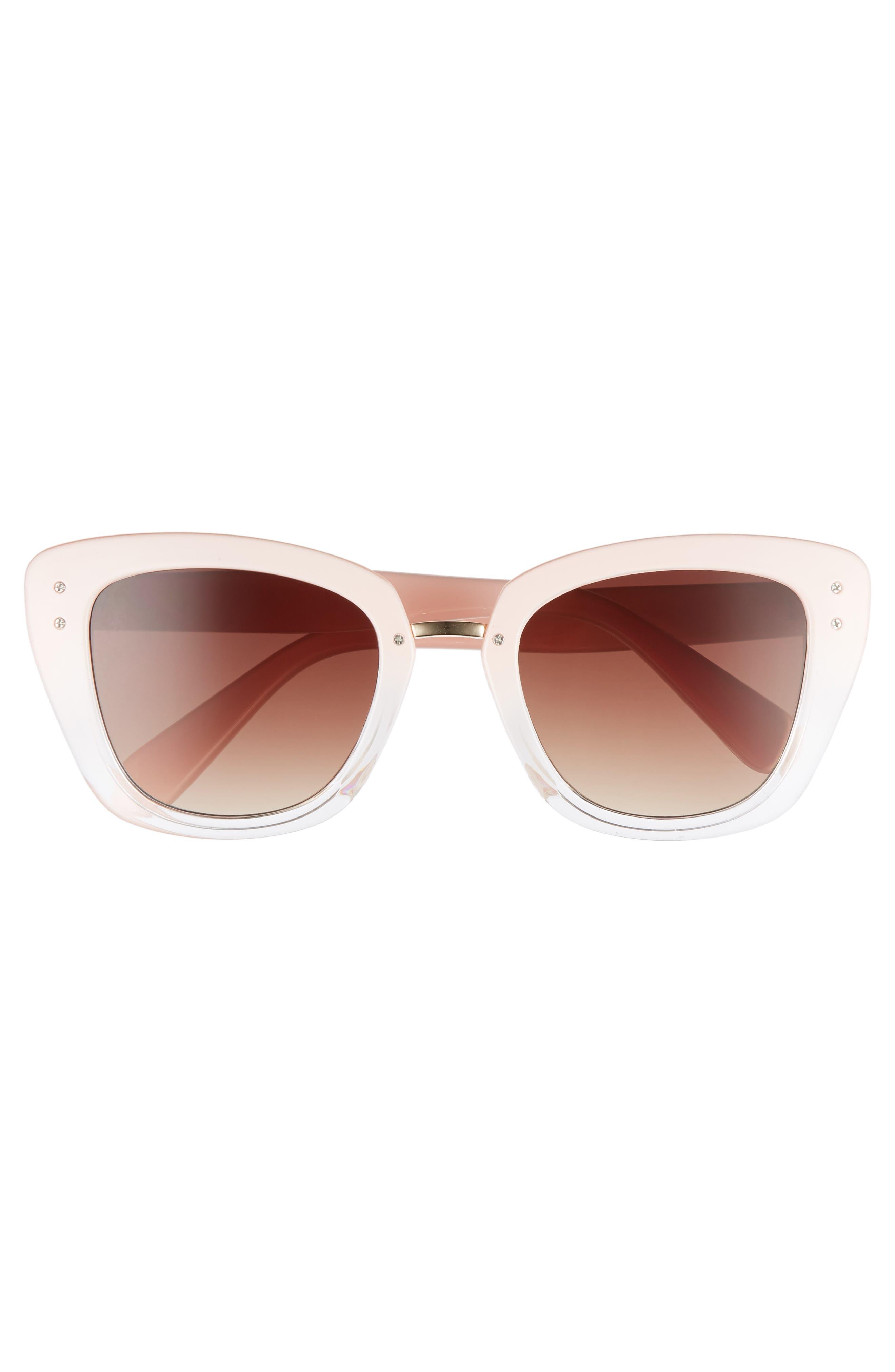 51mm Ombré Square Sunglasses,                             Alternate thumbnail 3, color,                             Pink/ Clear