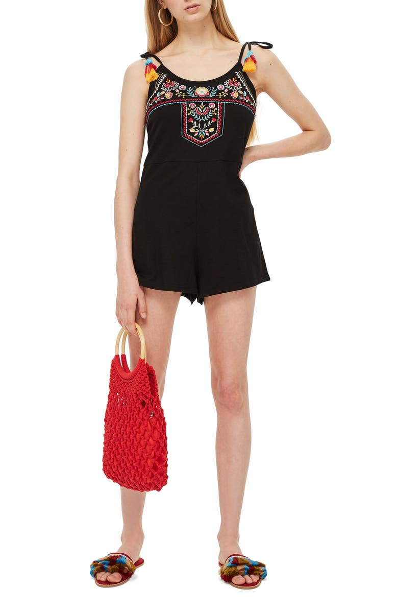 Folk Embroidered Playsuit