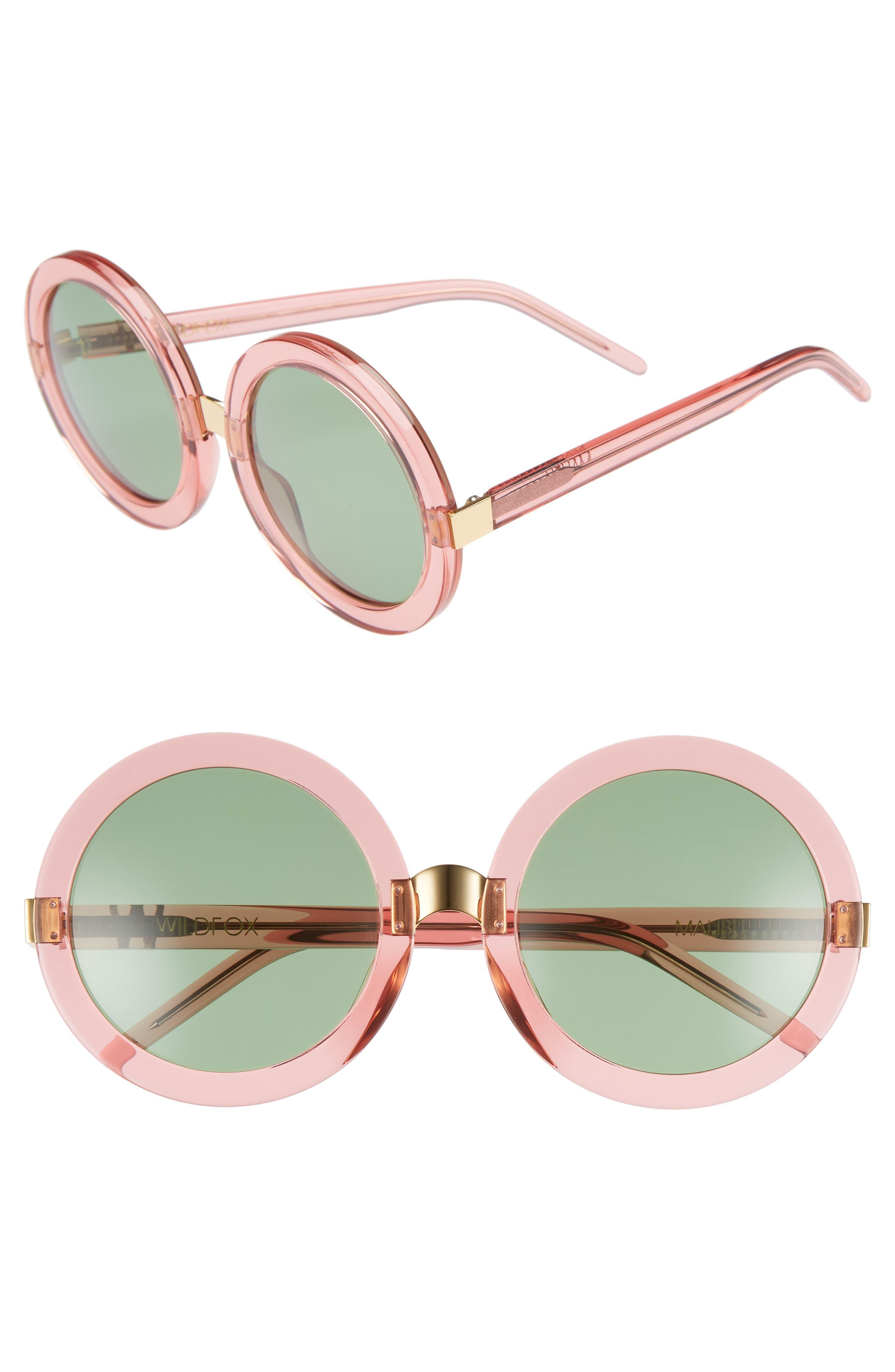 'Malibu' 56mm Round Sunglasses,                         Main,                         color, Rosewater/ Bottle Green